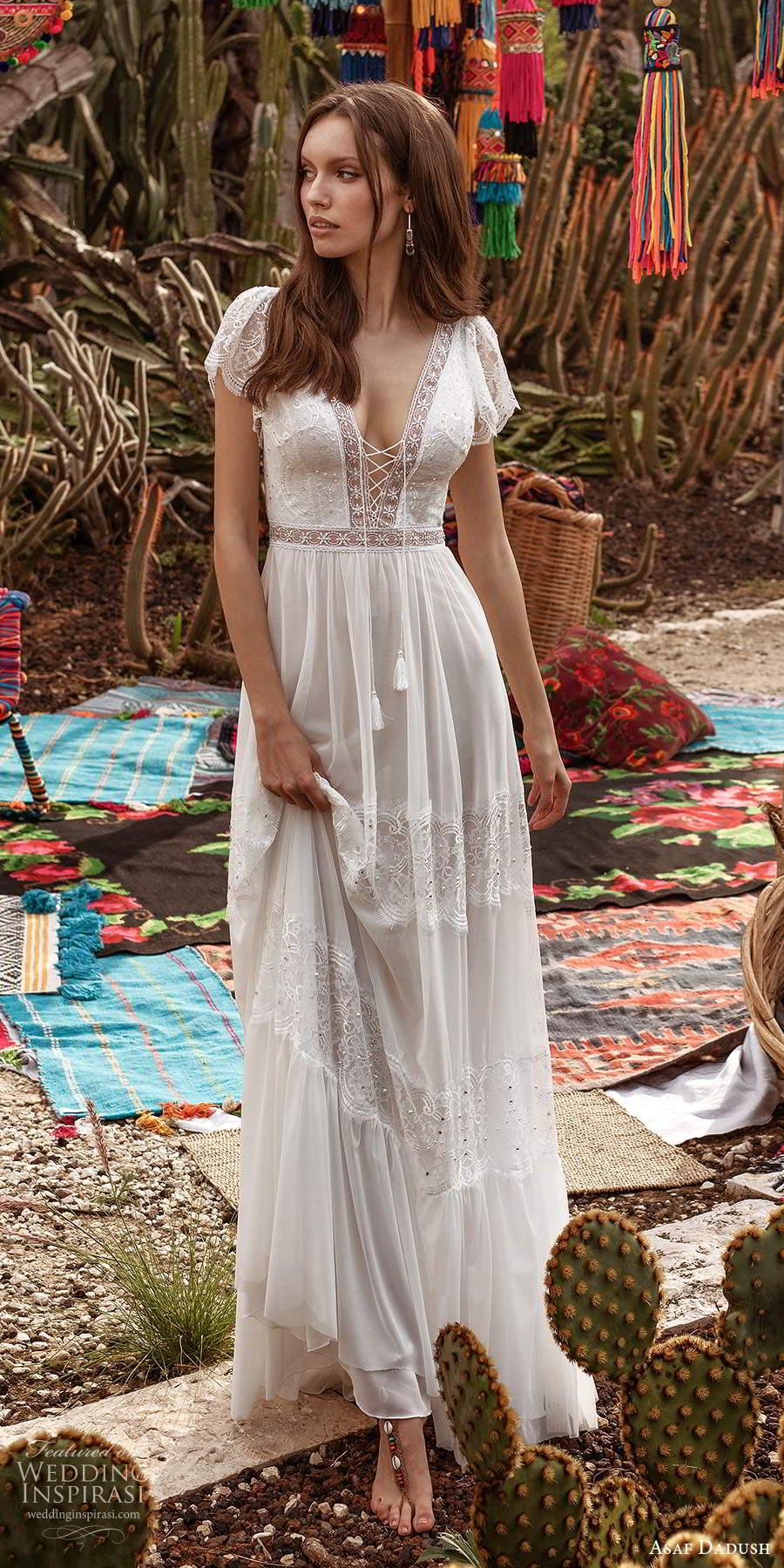 asaf dadush 2020 bridal short flutter sleeves plunging v neckline embellished lace boho a line wedding dress low back (1) mv
