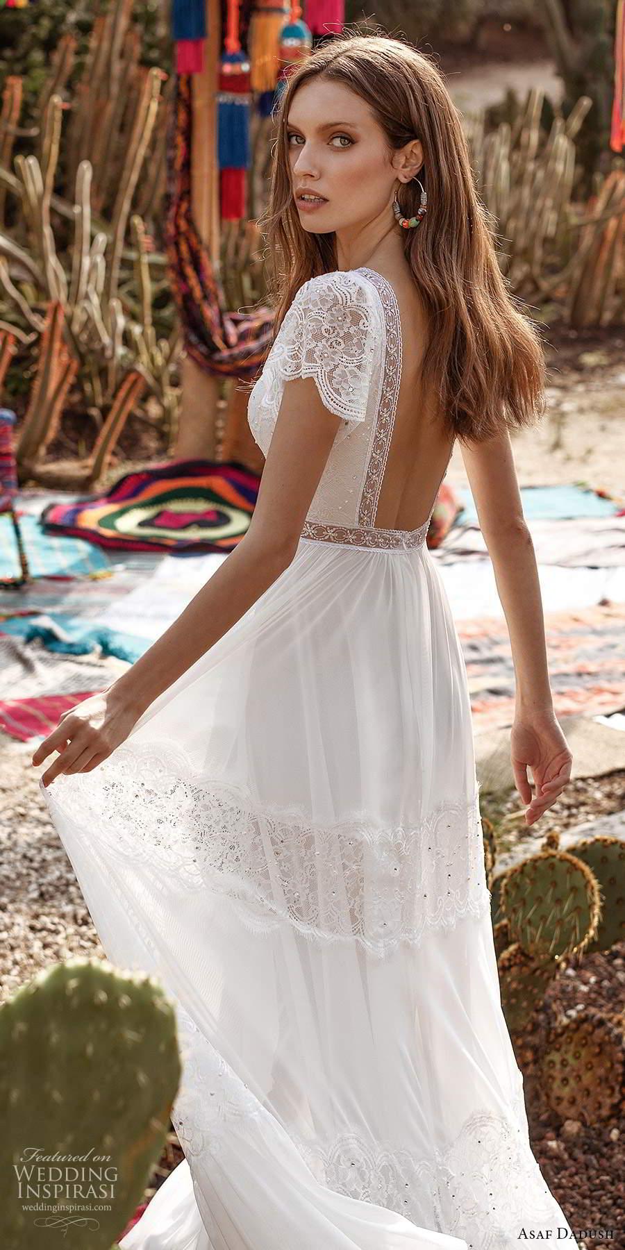 asaf dadush 2020 bridal short flutter sleeves plunging v neckline embellished lace boho a line wedding dress low back (1) zbv