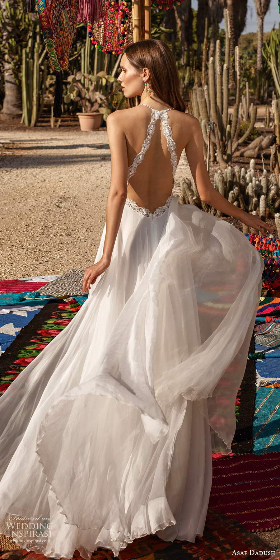 asaf dadush 2020 bridal sleeveless halter neck straps sweetheart neckline embellished bodice a line wedding dress (7) bv