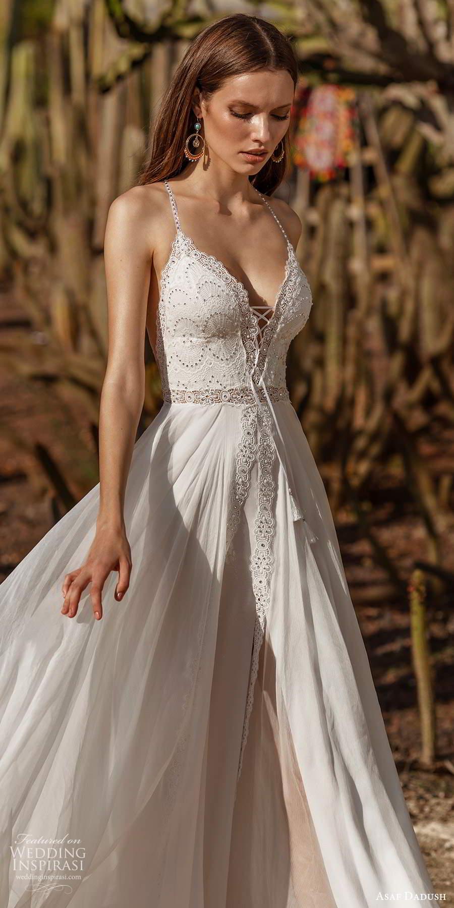 asaf dadush 2020 bridal sleeveless halter neck straps sweetheart neckline embellished bodice a line wedding dress (7) mv