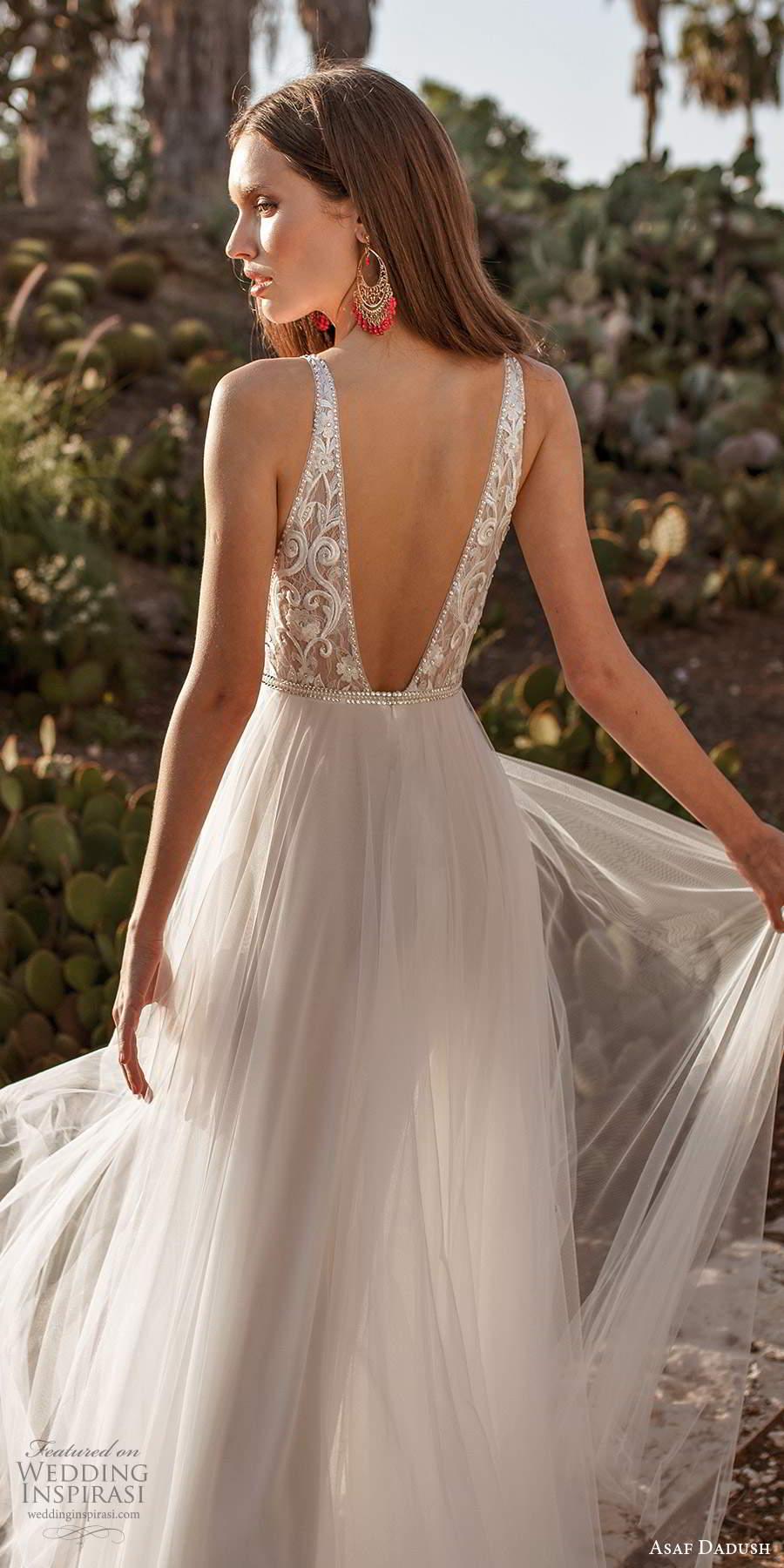 asaf dadush 2020 bridal sleeveless straps plunging v neckline heavily embellished bodice a line ball gown wedding dress v back (10) bv
