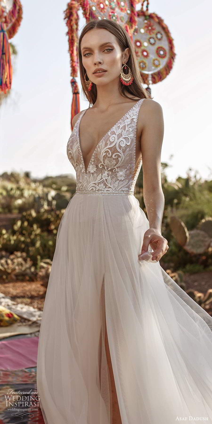 asaf dadush 2020 bridal sleeveless straps plunging v neckline heavily embellished bodice a line ball gown wedding dress v back (10) mv