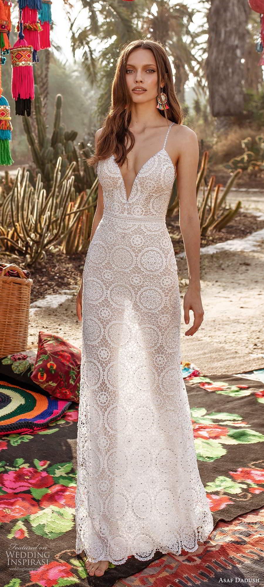 asaf dadush 2020 bridal sleeveless thin beaded straps plunging neckline fully embellished lace sheath side cutout a line wedding dress sheer open back (5) mv