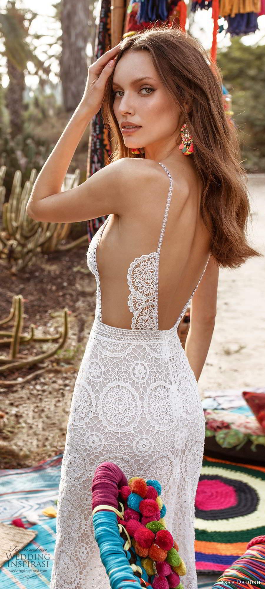 asaf dadush 2020 bridal sleeveless thin beaded straps plunging neckline fully embellished lace sheath side cutout a line wedding dress sheer open back (5) zbv