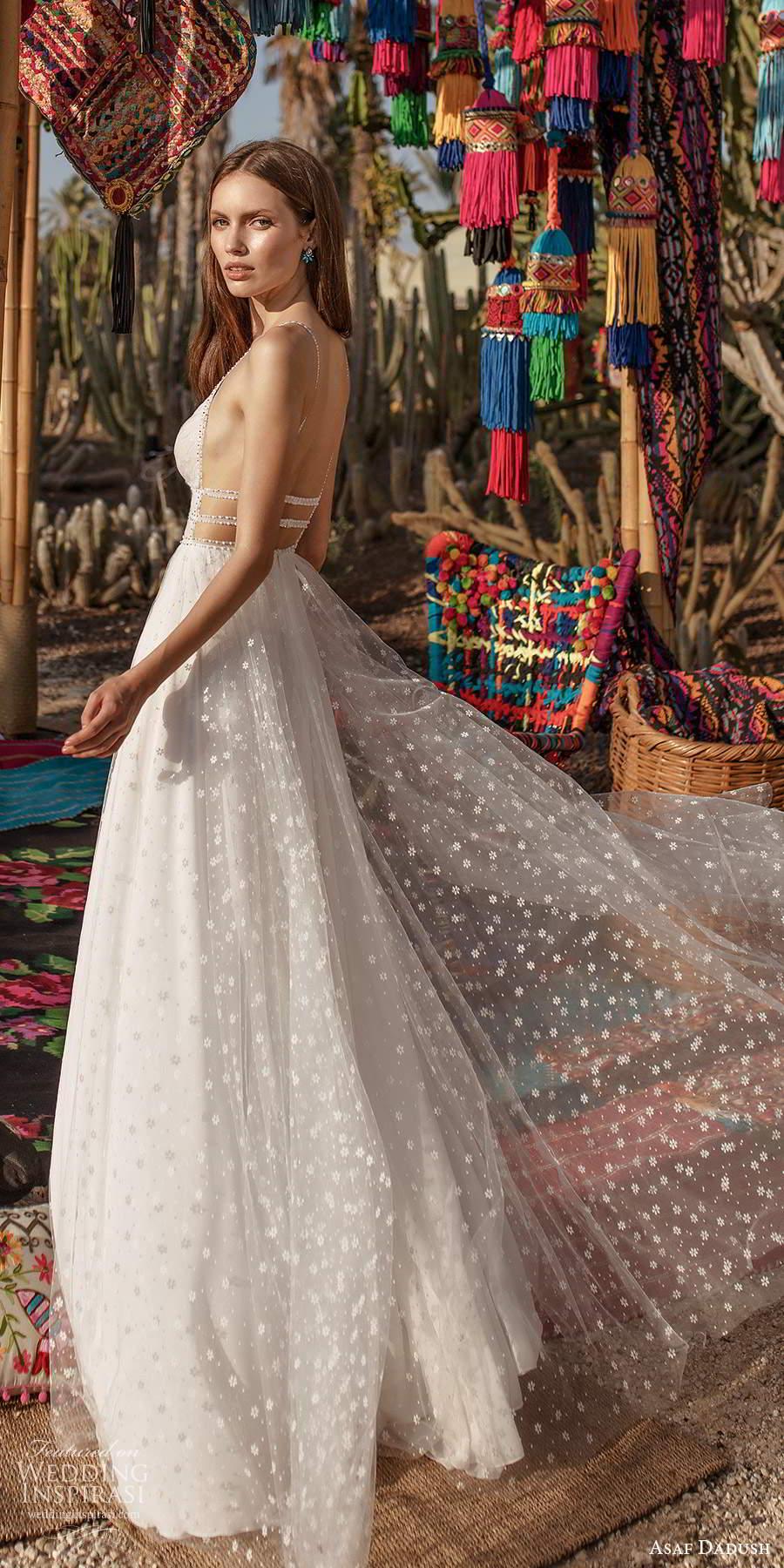 asaf dadush 2020 bridal sleeveless thin beaded straps plunging v neckline fully embellished a line ball gown wedding dress slit skirt open back (7) bv