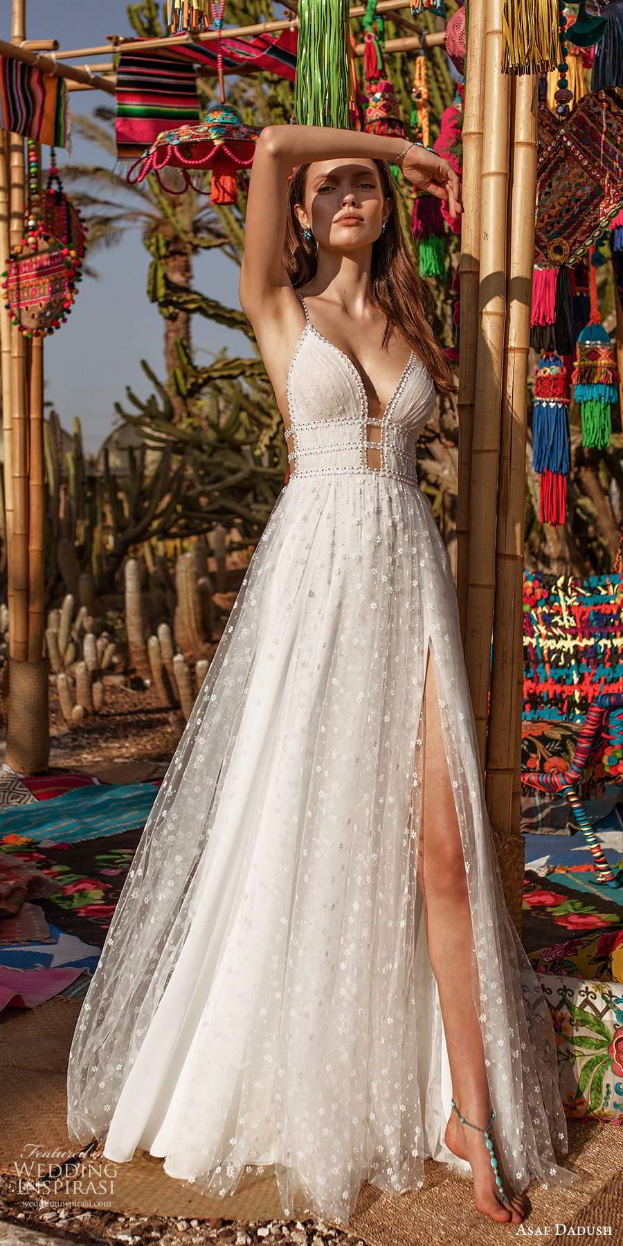 asaf dadush 2020 bridal sleeveless thin beaded straps plunging v neckline fully embellished a line ball gown wedding dress slit skirt open back (7) mv