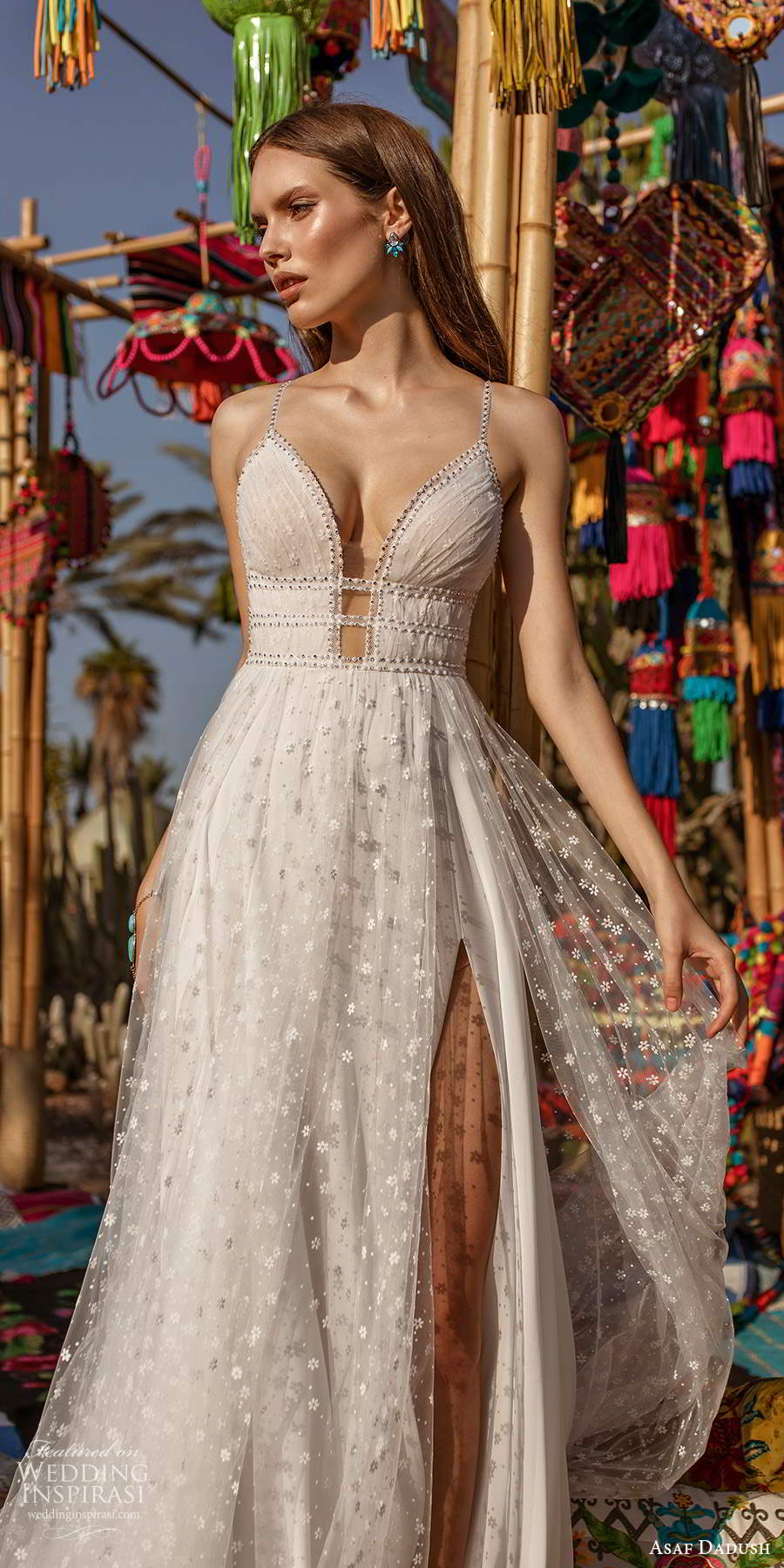 asaf dadush 2020 bridal sleeveless thin beaded straps plunging v neckline fully embellished a line ball gown wedding dress slit skirt open back (7) zv