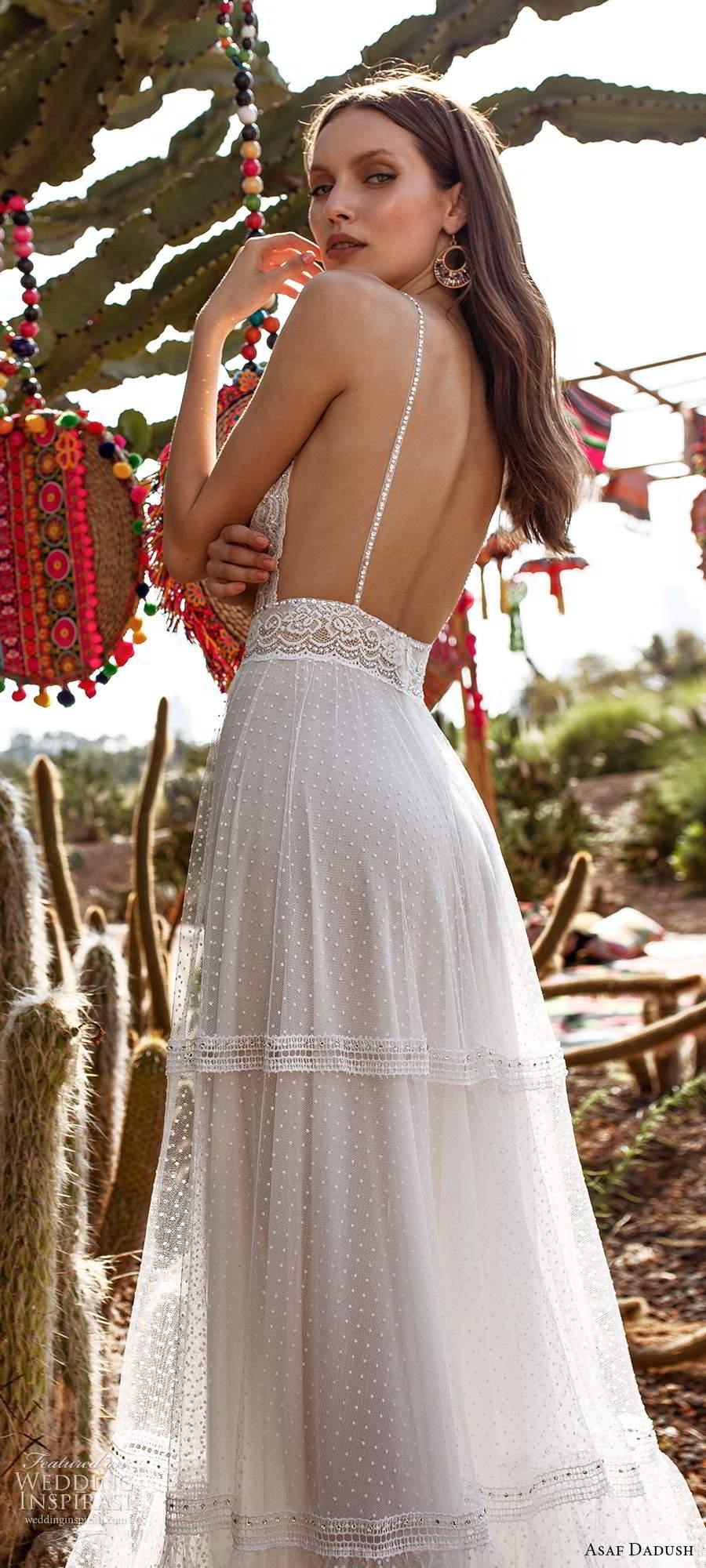 asaf dadush 2020 bridal sleeveless thin beaded straps sweetheart neckline fully embellished a line wedding dress low back (6) zbv