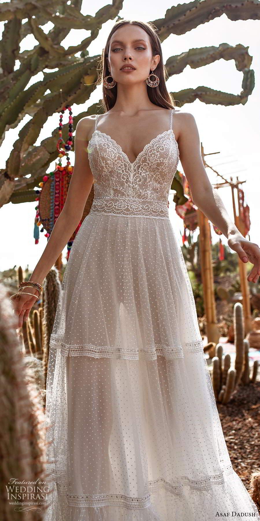 asaf dadush 2020 bridal sleeveless thin beaded straps sweetheart neckline fully embellished a line wedding dress low back (6) zv