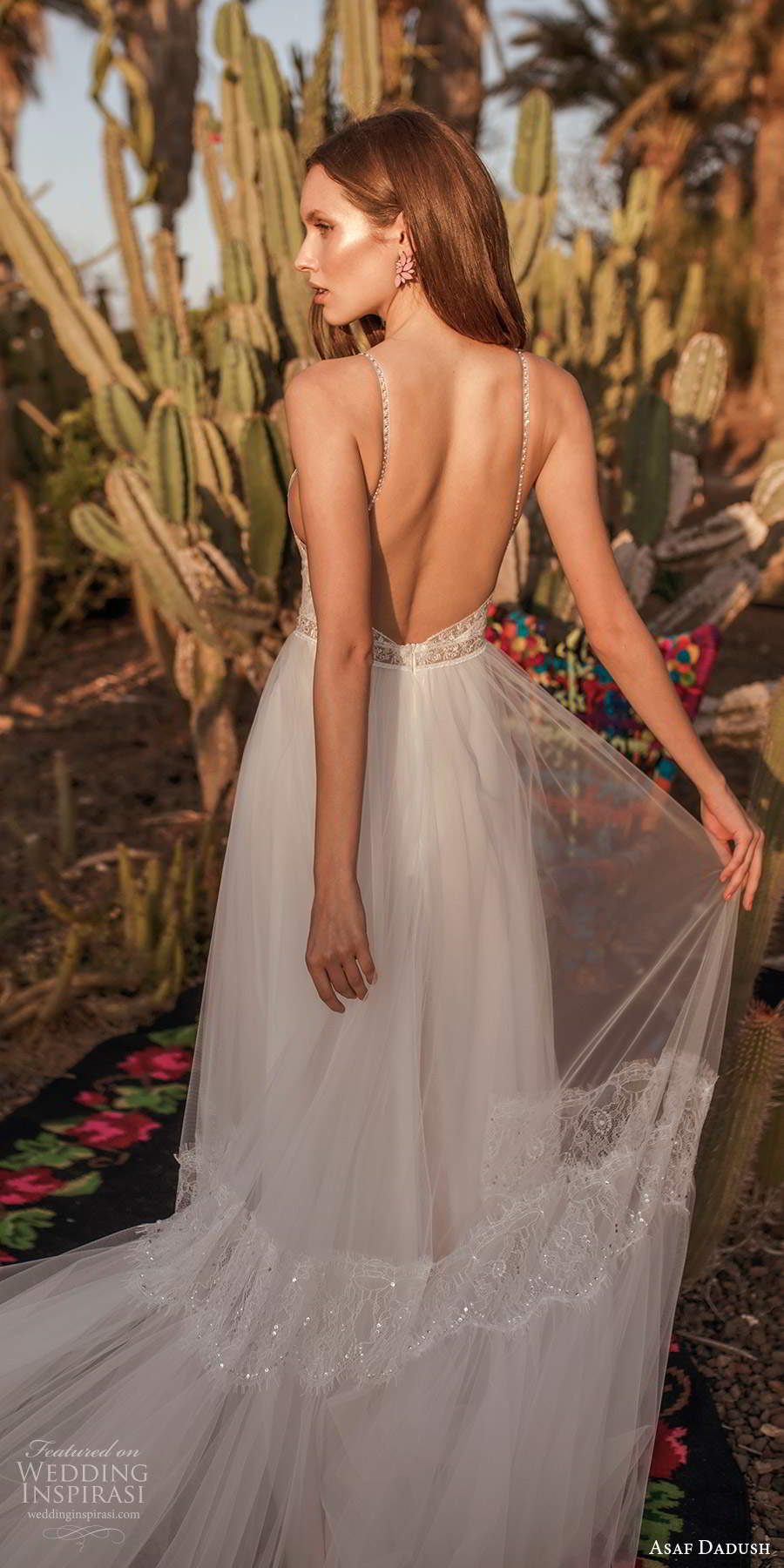 asaf dadush 2020 bridal sleeveless thin beaded straps v neckline embellished bodice a line ball gown wedding dress open back (11) bv