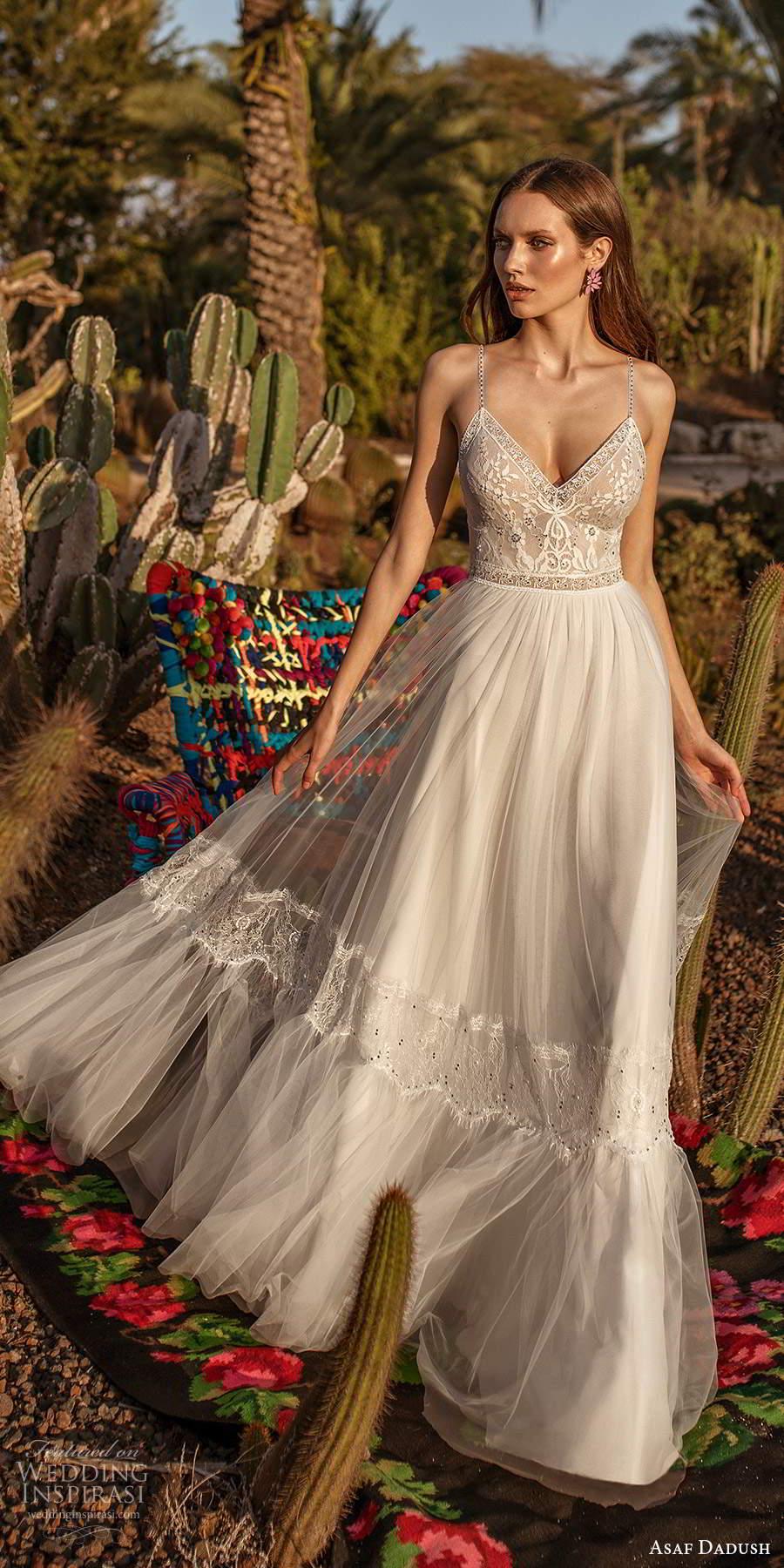 asaf dadush 2020 bridal sleeveless thin beaded straps v neckline embellished bodice a line ball gown wedding dress open back (11) mv