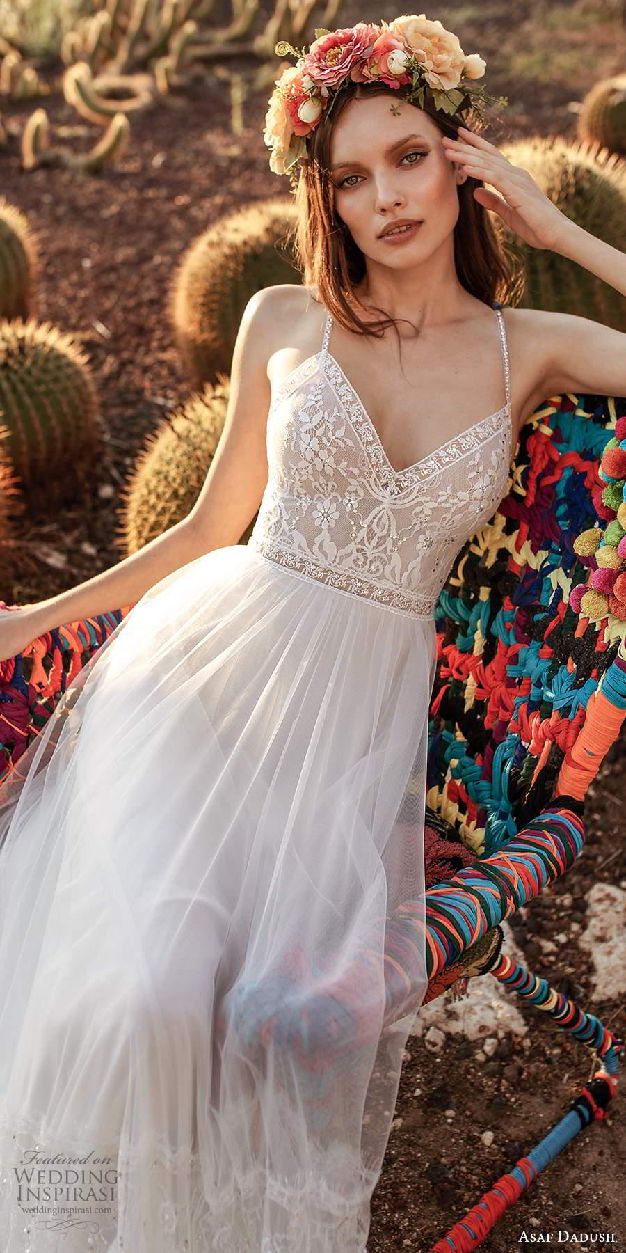 asaf dadush 2020 bridal sleeveless thin beaded straps v neckline embellished bodice a line ball gown wedding dress open back (11) zv