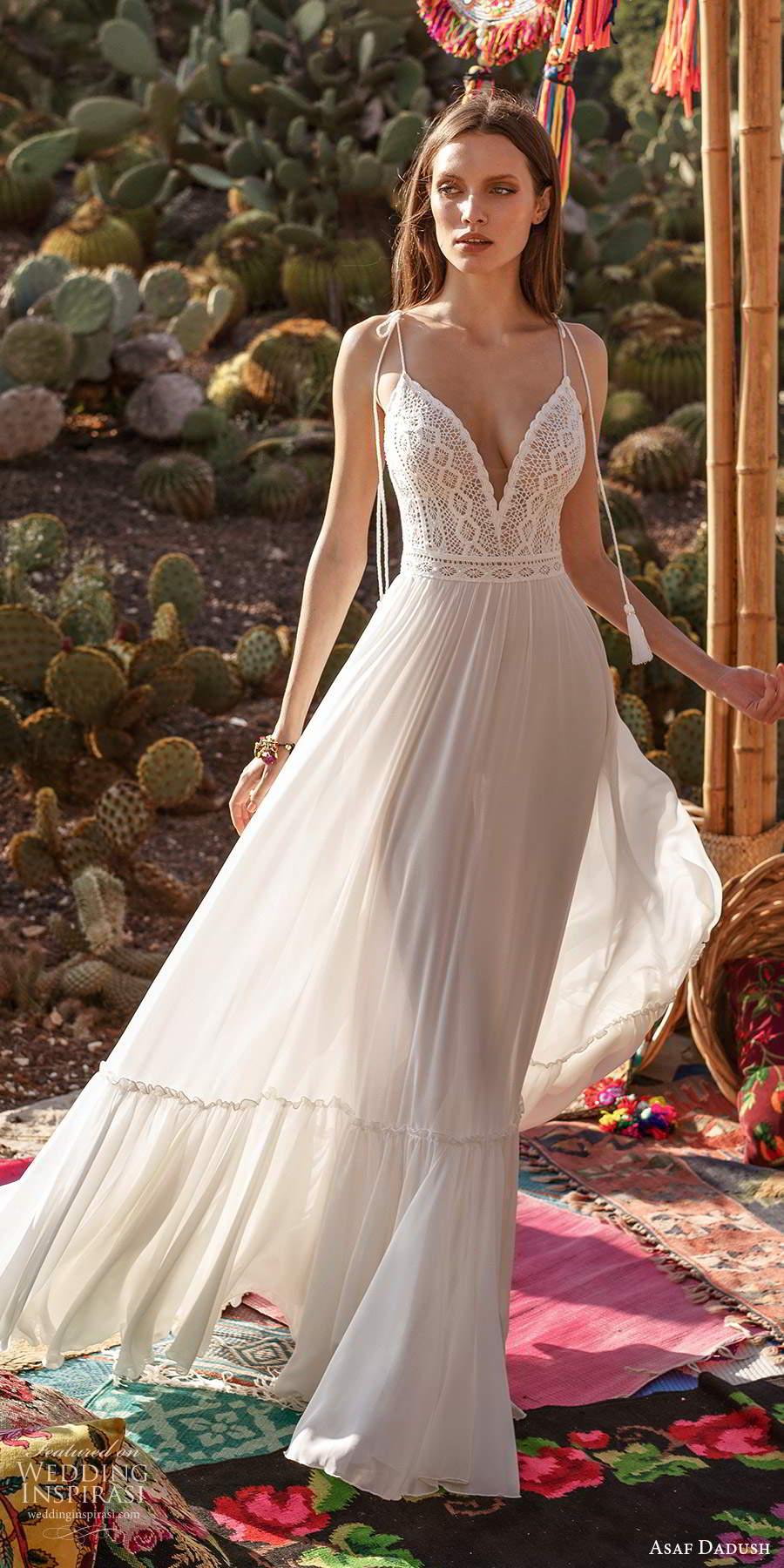 asaf dadush 2020 bridal sleeveless thin straps bow plunging v neckline embellished bodice clean skirt a line wedding dress open back (9) mv