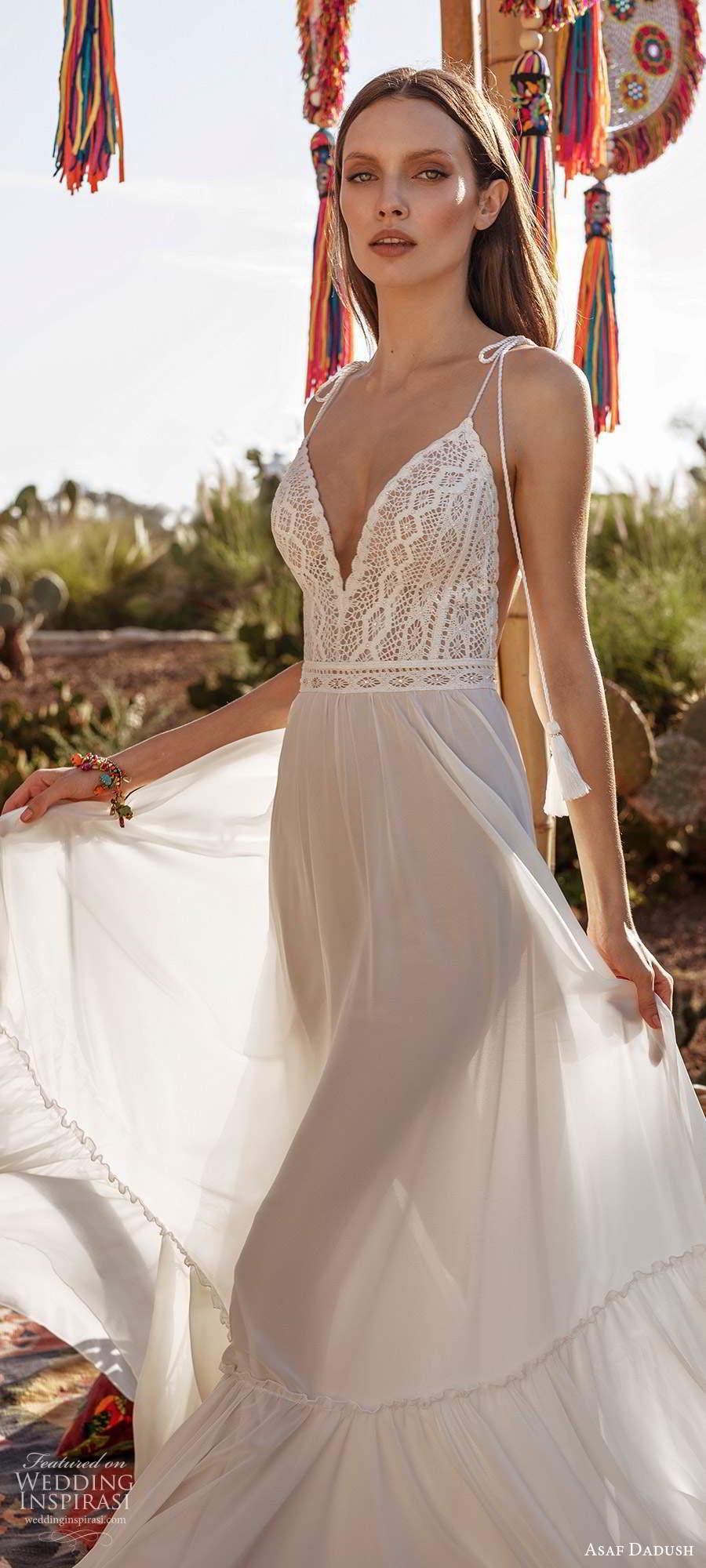 asaf dadush 2020 bridal sleeveless thin straps bow plunging v neckline embellished bodice clean skirt a line wedding dress open back (9) zv