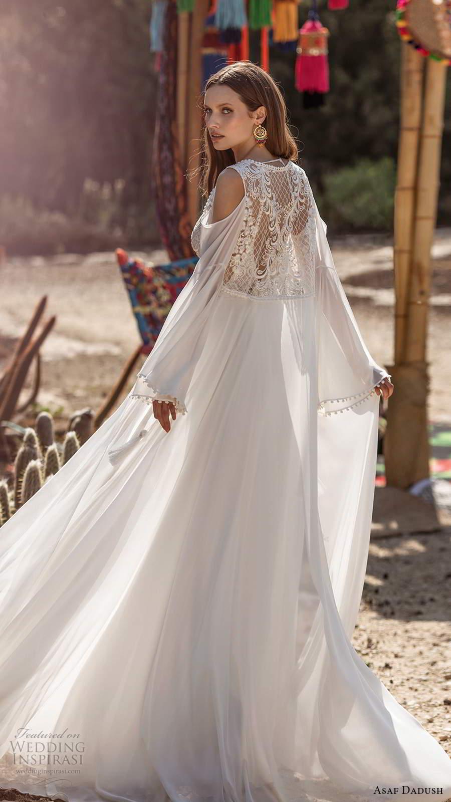 asaf dadush 2020 bridal sleeveless thin straps plunging v neckline embellished bodice clean skirt a line wedding dress slit skirt low back long sleeve jacket (3) bv