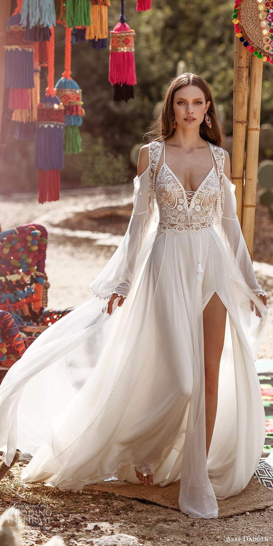 asaf dadush 2020 bridal sleeveless thin straps plunging v neckline embellished bodice clean skirt a line wedding dress slit skirt low back long sleeve jacket (3) mv