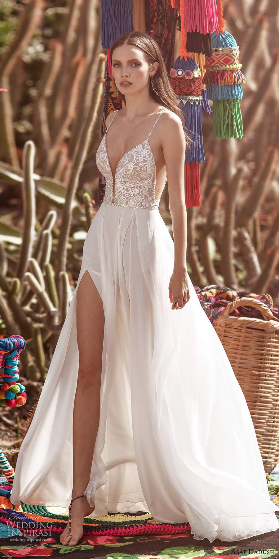 asaf dadush 2020 bridal sleeveless thin straps plunging v neckline heavily embellished bodice clean skirt a line wedding dress chapel train (1) sv