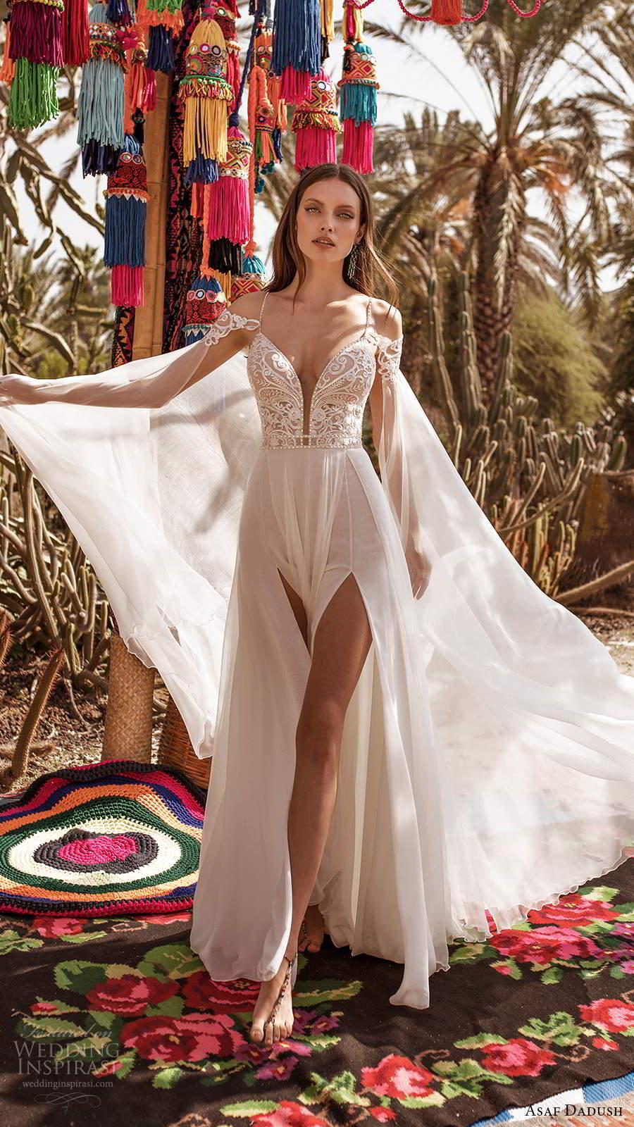 asaf dadush 2020 bridal sleeveless thin straps plunging v neckline heavily embellished bodice clean skirt a line wedding dress chapel train cape (1) fv