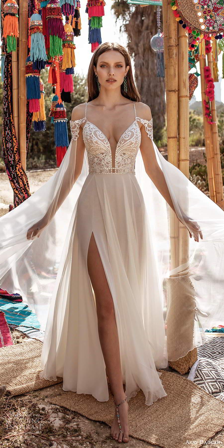 asaf dadush 2020 bridal sleeveless thin straps plunging v neckline heavily embellished bodice clean skirt a line wedding dress chapel train cape (1) mv
