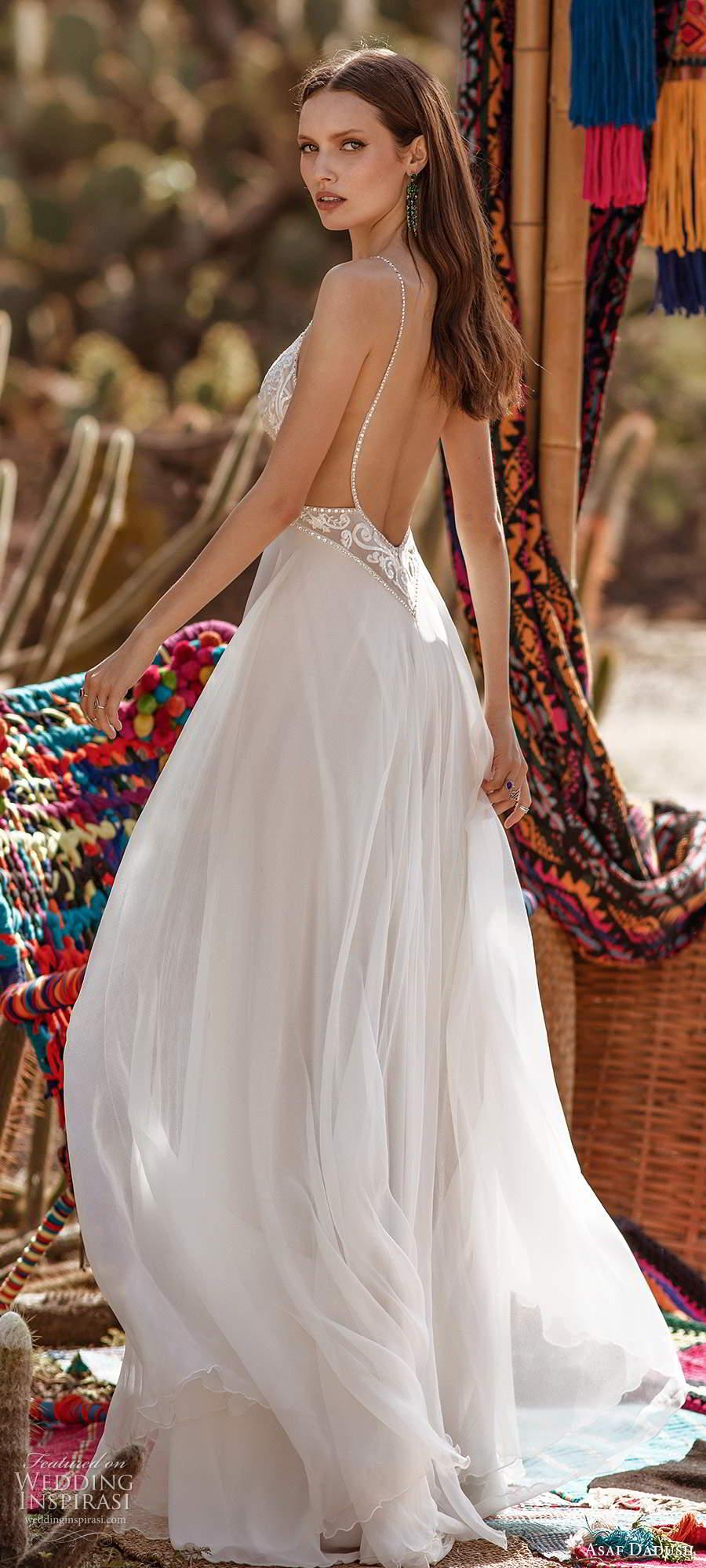asaf dadush 2020 bridal sleeveless thin straps plunging v neckline heavily embellished bodice clean skirt a line wedding dress chapel train low back (1) bv