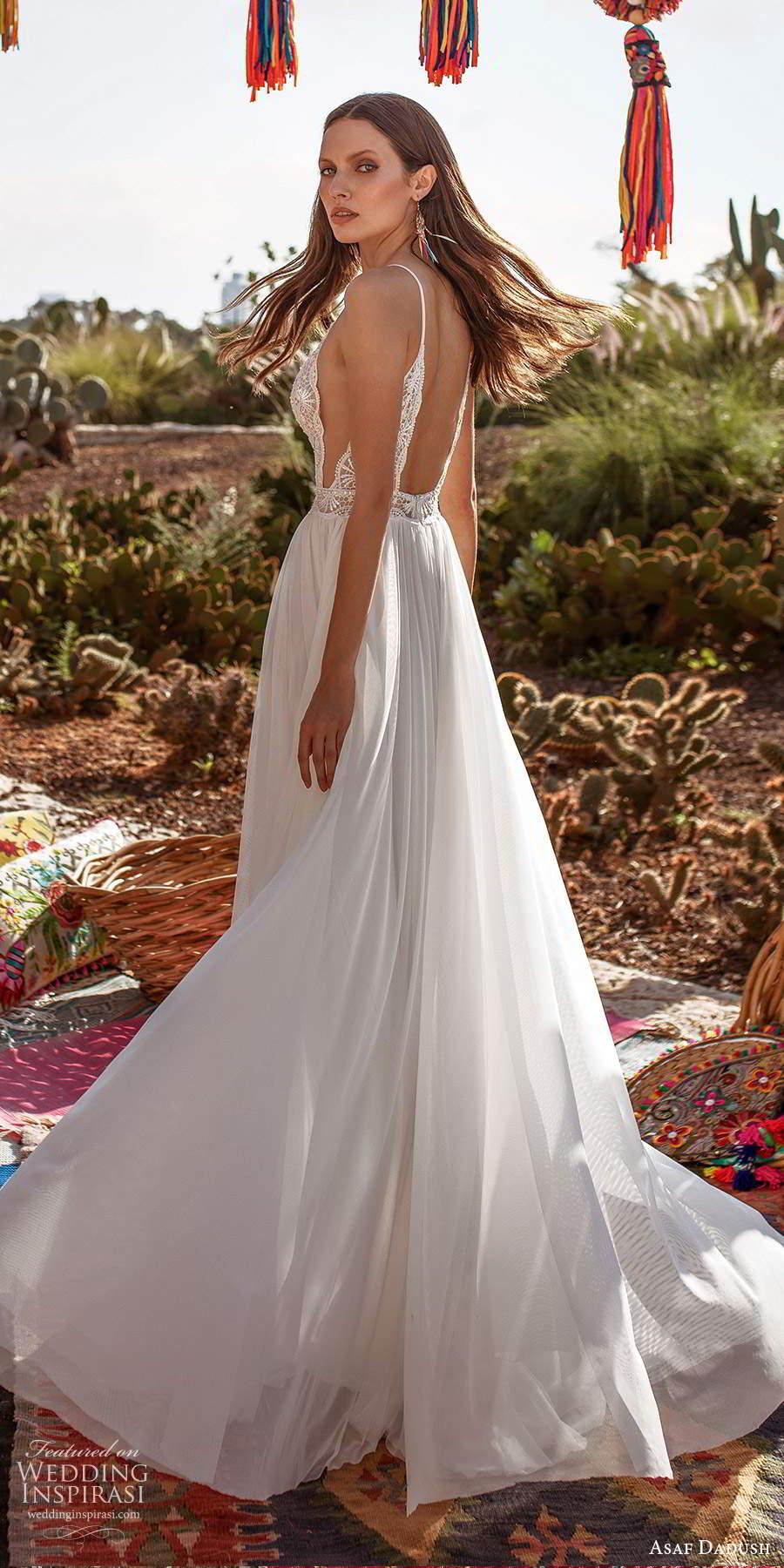 asaf dadush 2020 bridal sleeveless thin straps sweetheart neckline embellished lace bodice a line wedding dress open back (8) bv