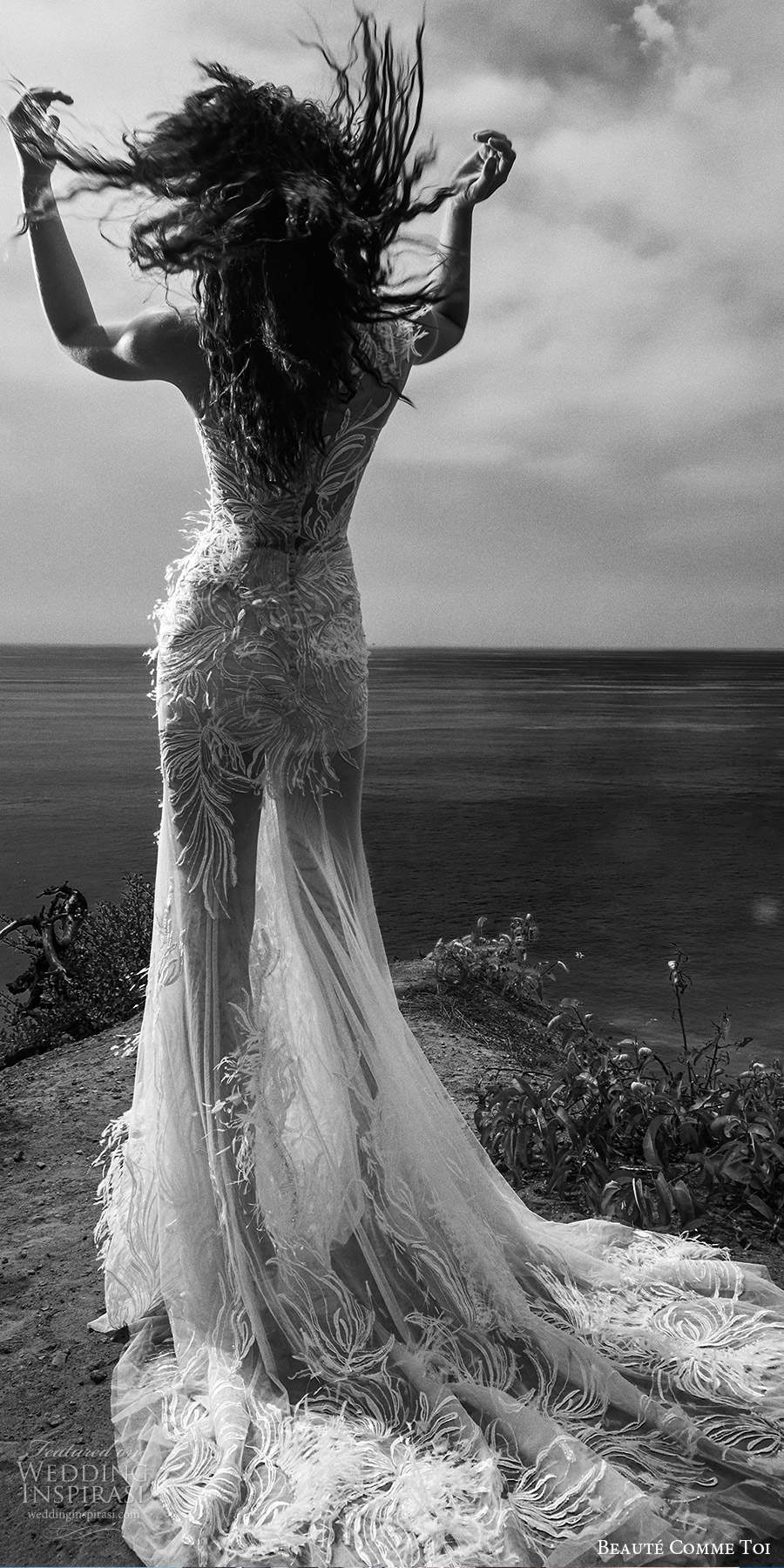 beaute comme toi f2020 bridal feather one shoulder sleeves illusion neckline full embellishment elegant glamorous fit and flare sheath wedding dress lace button back medium train (8) bv
