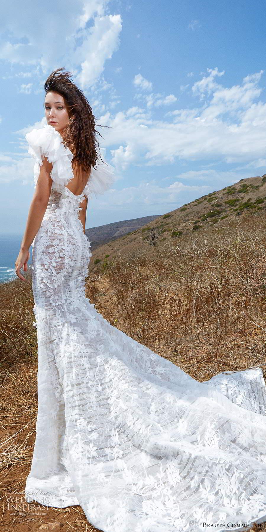 beaute comme toi f2020 bridal flutter cap sleeves v neck heavily embellished bodice romantic pretty a  line wedding dress mid back (3) bv