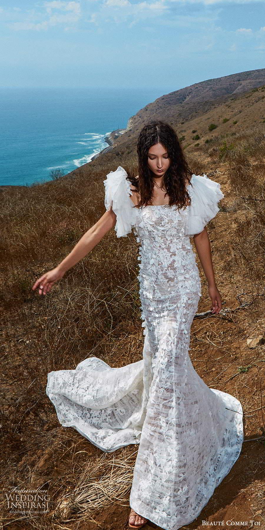 beaute comme toi f2020 bridal flutter cap sleeves v neck heavily embellished bodice romantic pretty a  line wedding dress mid back (3) fv