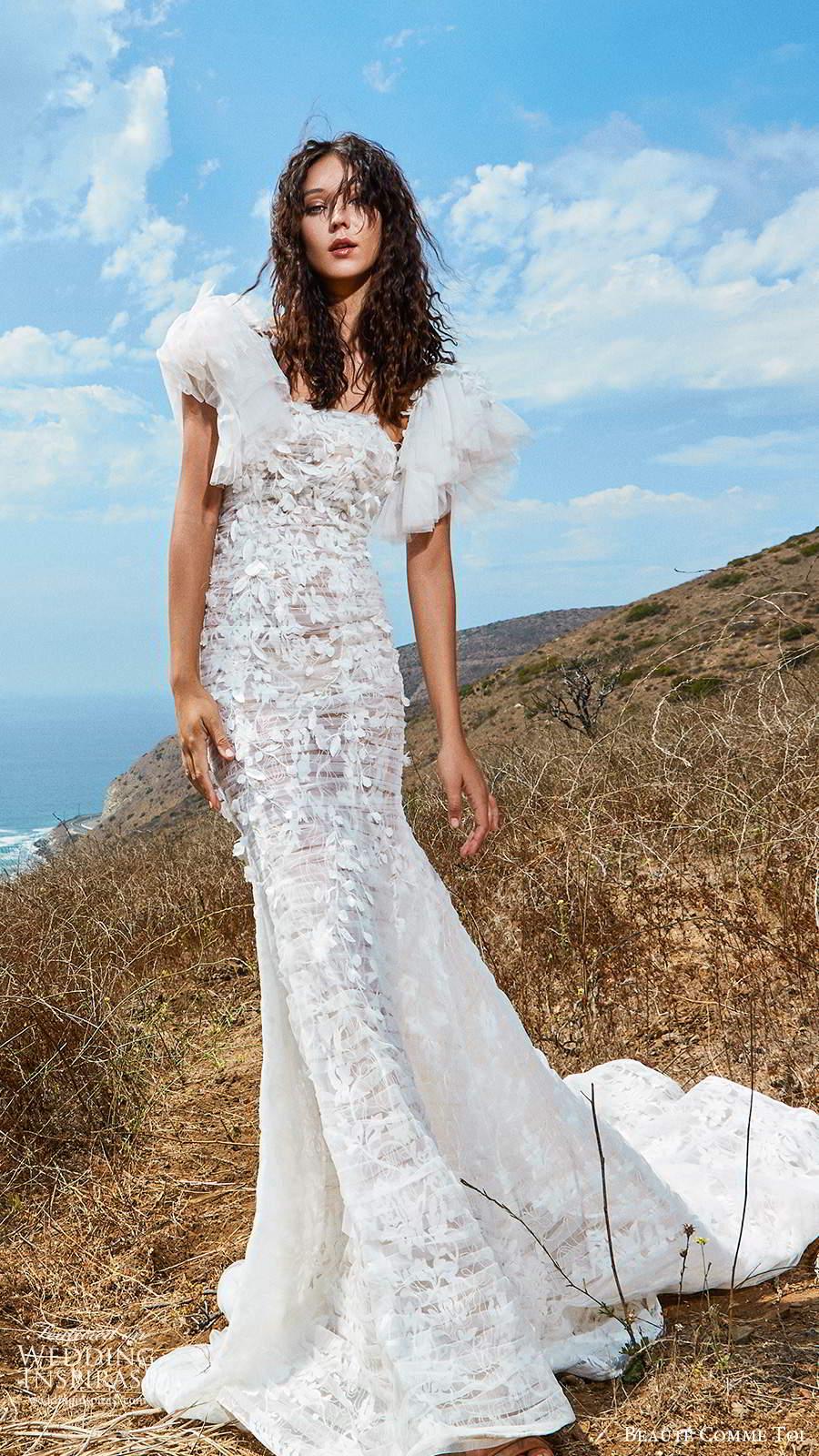 beaute comme toi f2020 bridal flutter cap sleeves v neck heavily embellished bodice romantic pretty a  line wedding dress mid back (3) mv