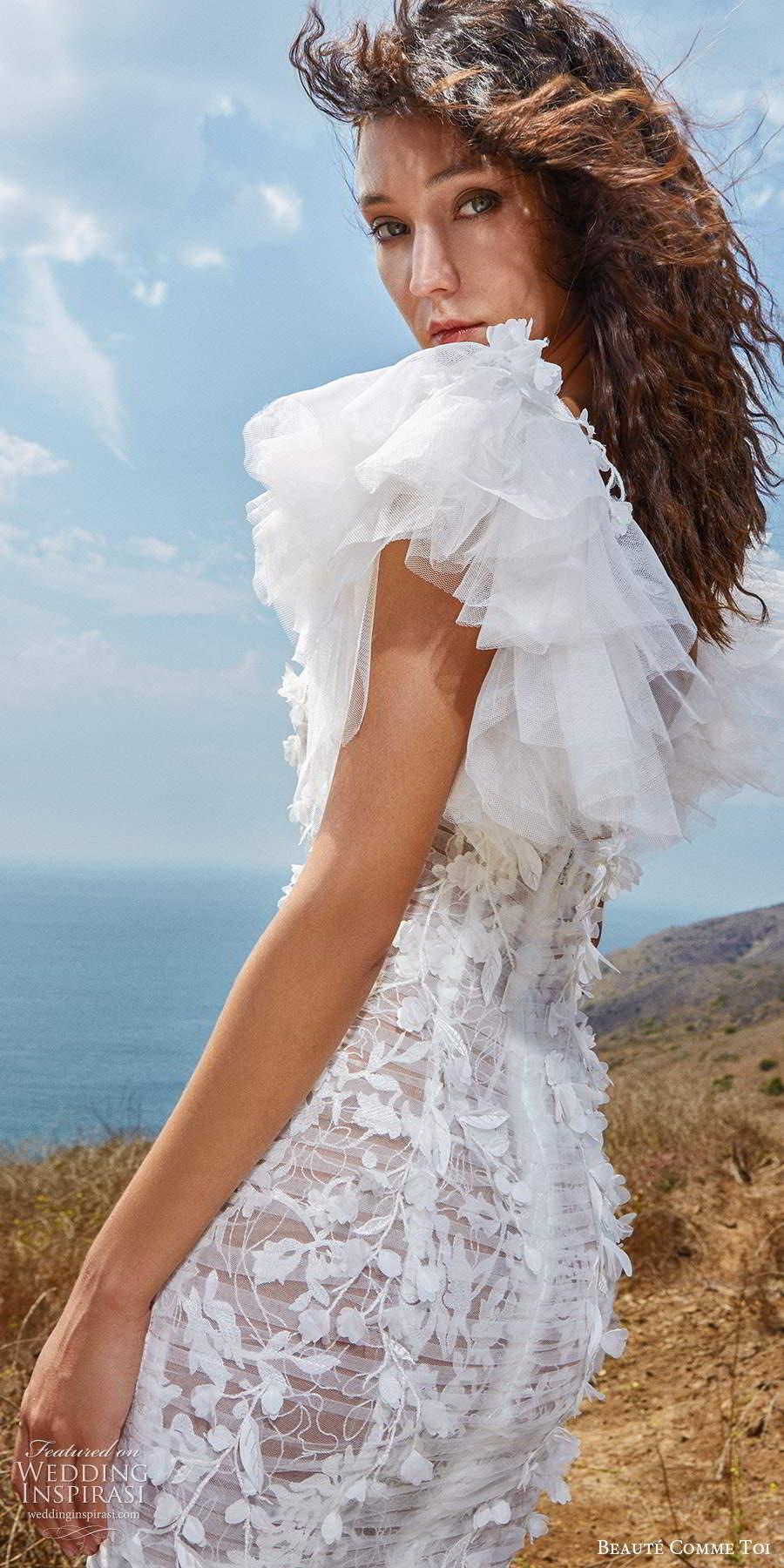 beaute comme toi f2020 bridal flutter cap sleeves v neck heavily embellished bodice romantic pretty a  line wedding dress mid back (3) zsv