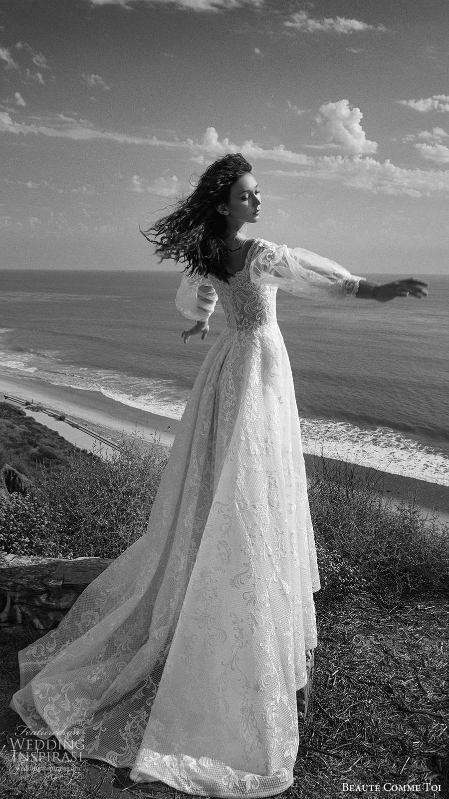 beaute comme toi f2020 bridal illusion long sleeves off shoulder sweetheart neckline fully embellished lace a line ball gown wedding dress chapel train (1) bv