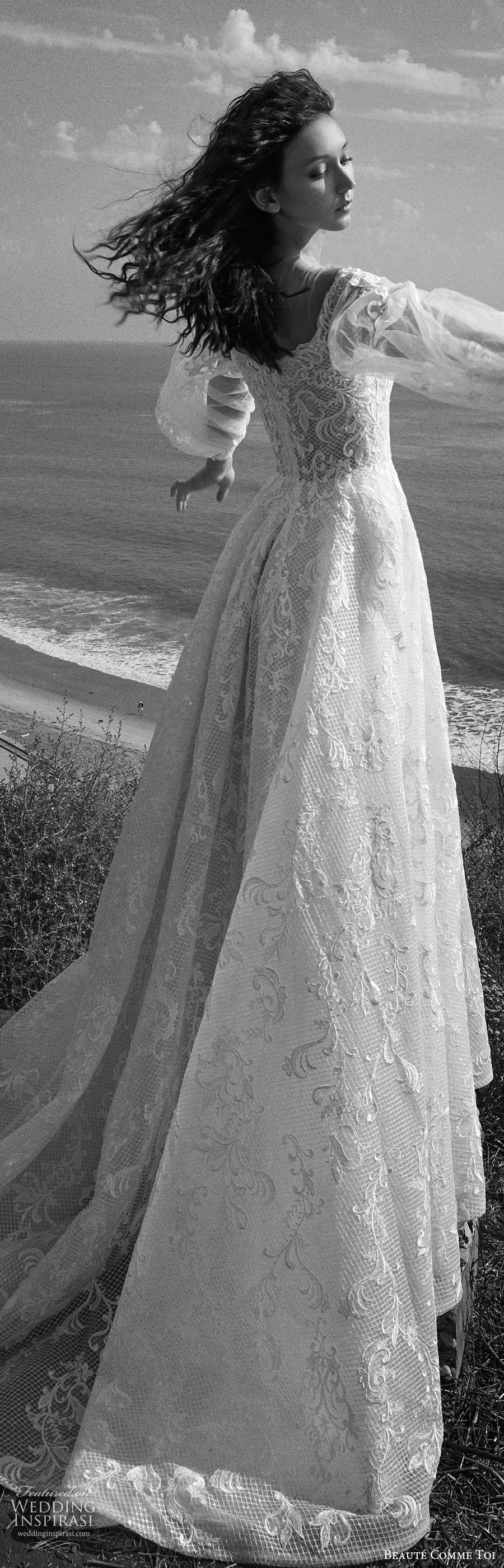 beaute comme toi f2020 bridal illusion long sleeves off shoulder sweetheart neckline fully embellished lace a line ball gown wedding dress chapel train (1) lbv