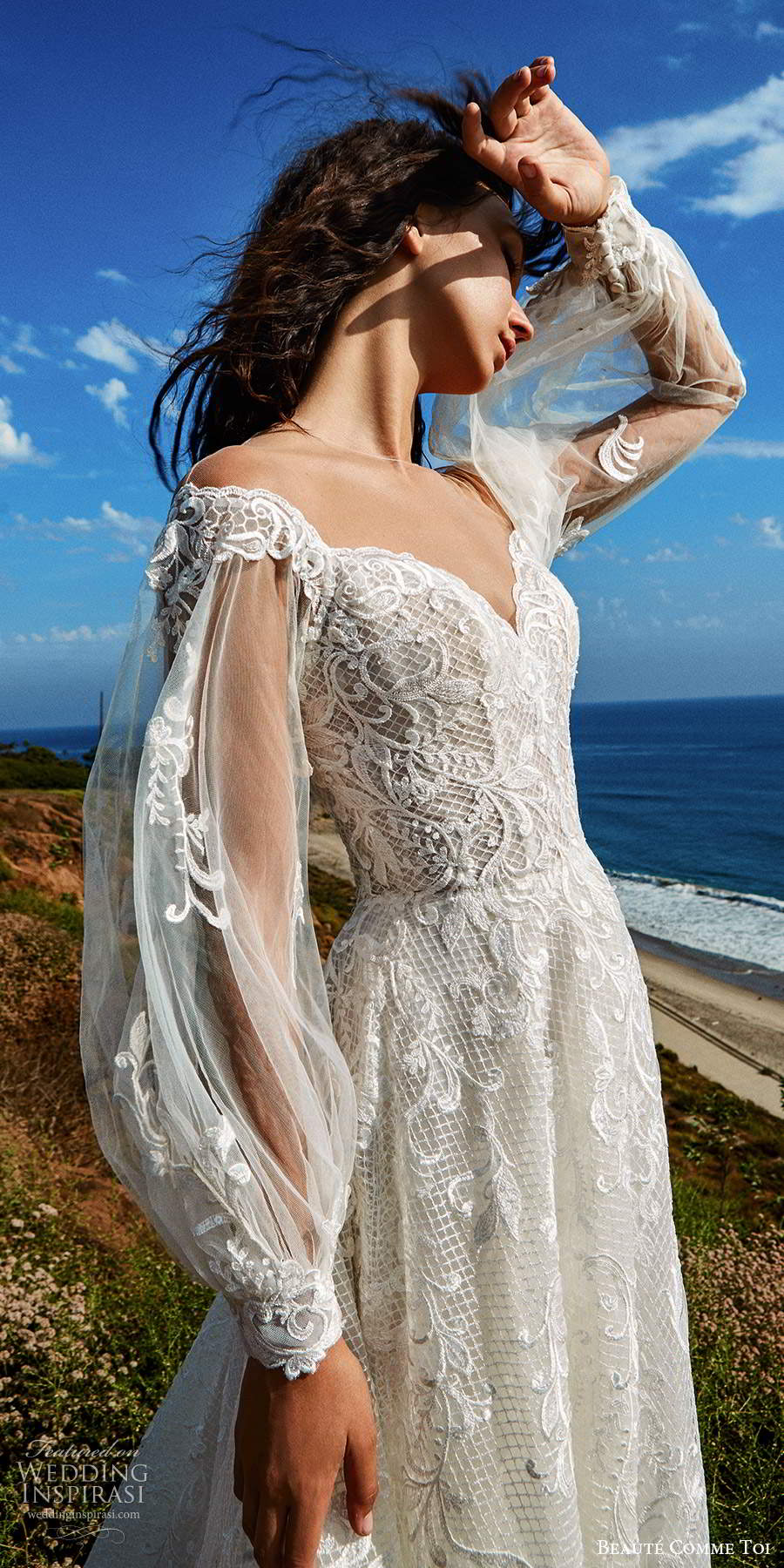 beaute comme toi f2020 bridal illusion long sleeves off shoulder sweetheart neckline fully embellished lace a line ball gown wedding dress chapel train (1) mv