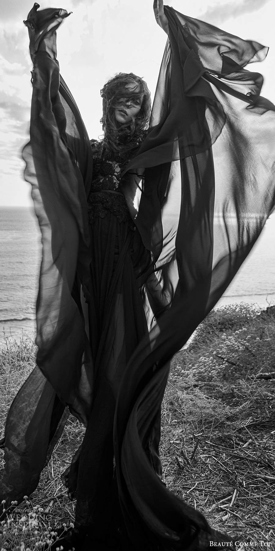 beaute comme toi f2020 bridal long sleeves bateau neckline heavily embellished bodice elegant black a  line weddig dress (9) fv