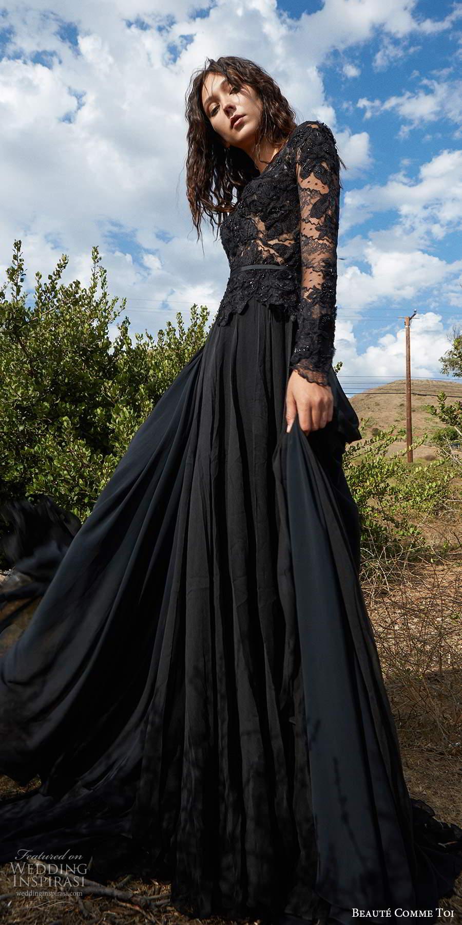 beaute comme toi f2020 bridal long sleeves bateau neckline heavily embellished bodice elegant black a  line weddig dress (9) mv
