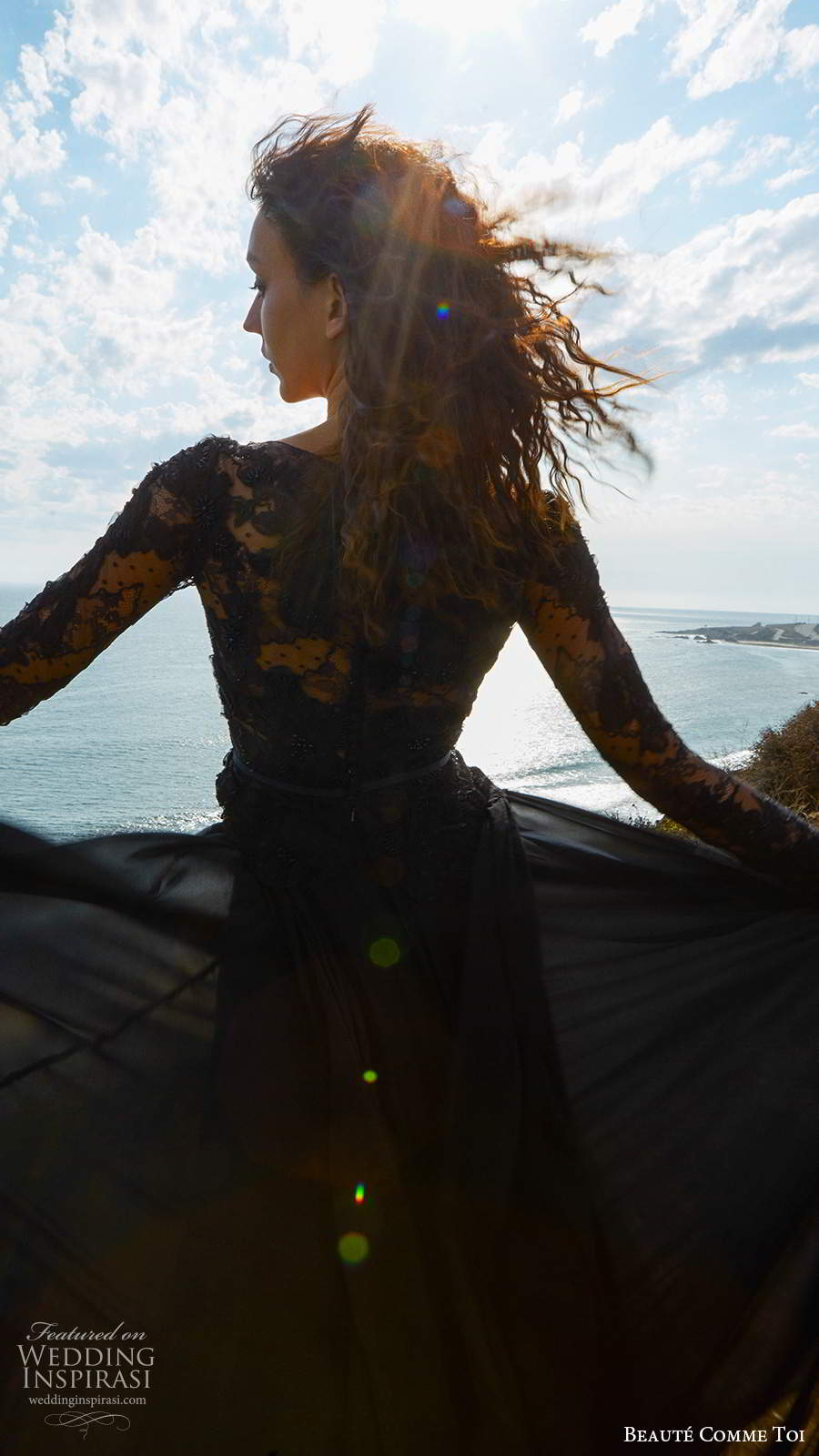 beaute comme toi f2020 bridal long sleeves bateau neckline heavily embellished bodice elegant black a  line weddig dress (9) zbv