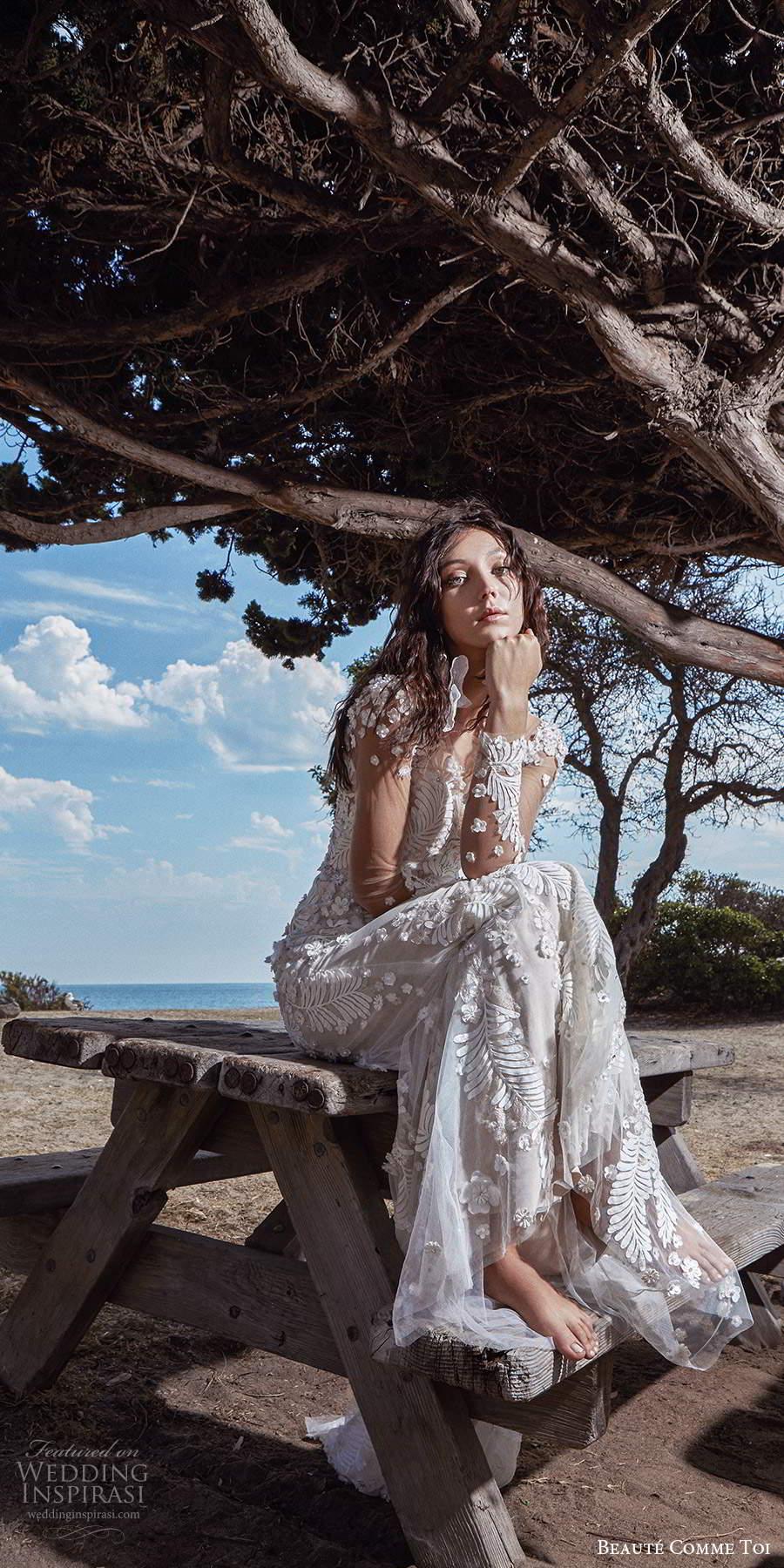 beaute comme toi f2020 bridal long sleeves illusion bateau neckline full embellishment elegant sheath wedding dress backless low back short train (5) fv