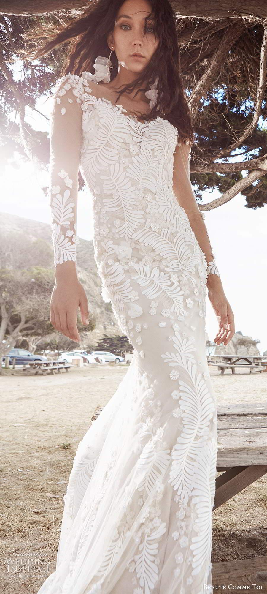 beaute comme toi f2020 bridal long sleeves illusion bateau neckline full embellishment elegant sheath wedding dress backless low back short train (5) mv
