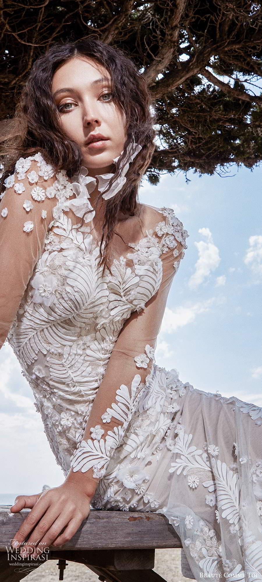beaute comme toi f2020 bridal long sleeves illusion bateau neckline full embellishment elegant sheath wedding dress backless low back short train (5) zv