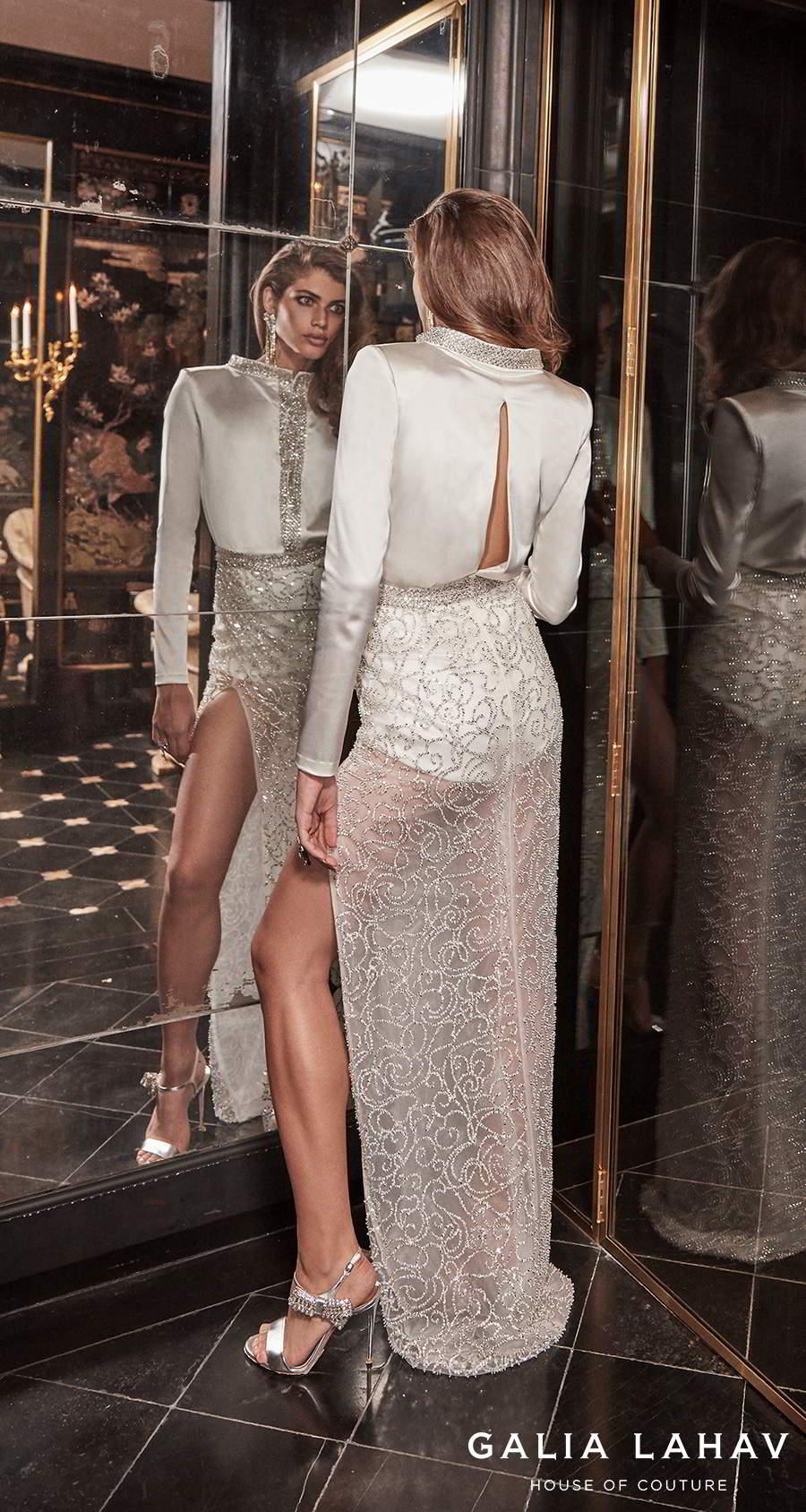 galia lahav fall 2020 bridal long sleeves bateau high neck shirt bodice slit skirt glamorous modern sheath wedding dress slit back sweep train (sampaio) bv