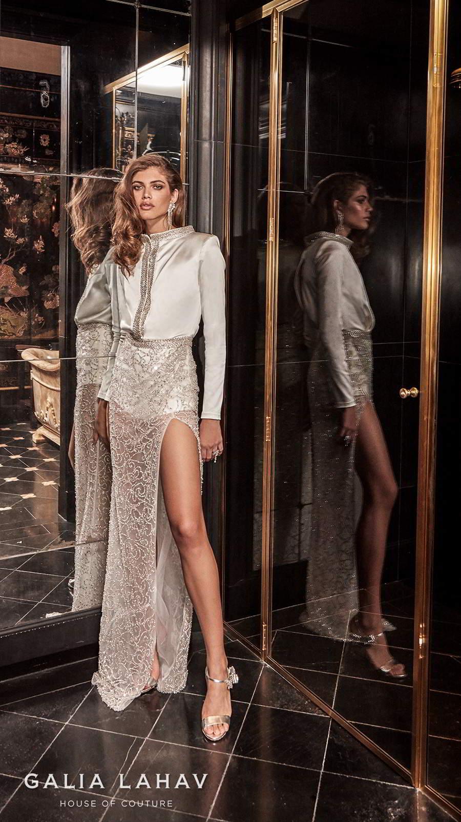 galia lahav fall 2020 bridal long sleeves bateau high neck shirt bodice slit skirt glamorous modern sheath wedding dress slit back sweep train (sampaio) mv