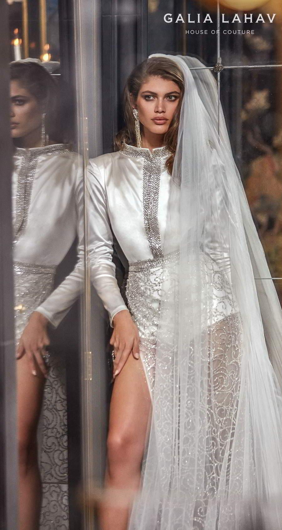 galia lahav fall 2020 bridal long sleeves bateau high neck shirt bodice slit skirt glamorous modern sheath wedding dress slit back sweep train (sampaio) zv
