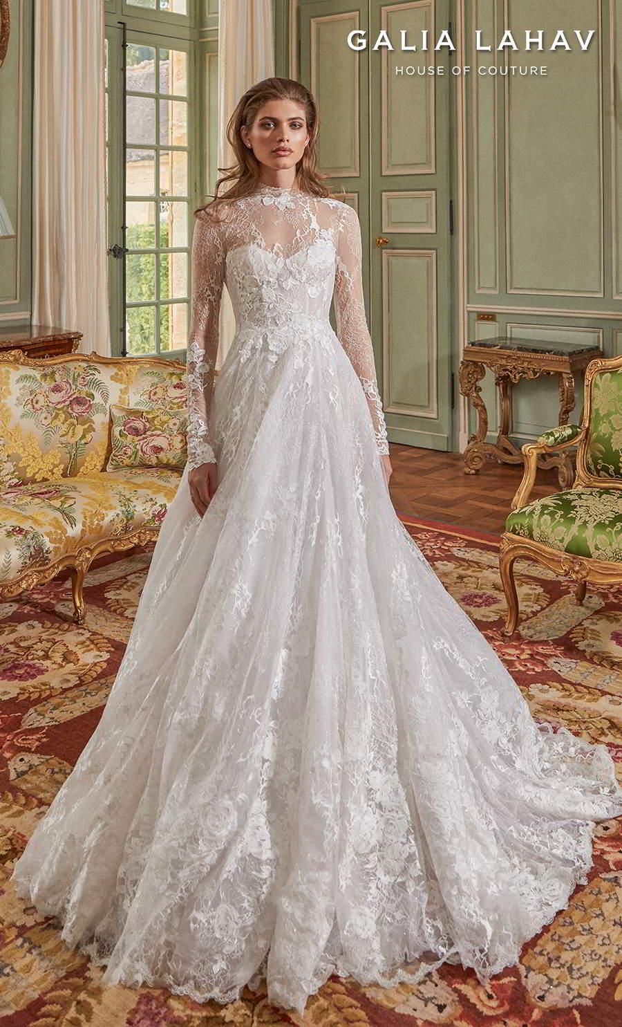 galia lahav fall 2020 bridal long sleeves illusion high neck sweetheart neckline full embellishment romantic elegant a  line wedding dress keyhole back medium train (estee) mv