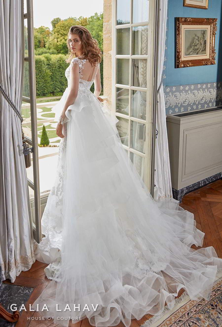 galia lahav fall 2020 bridal long sleeves illusion jewel sweetheart neckline full embellishment romantic fit and flare wedding dress a  line overskirt sheer back chapel train (judy) bv
