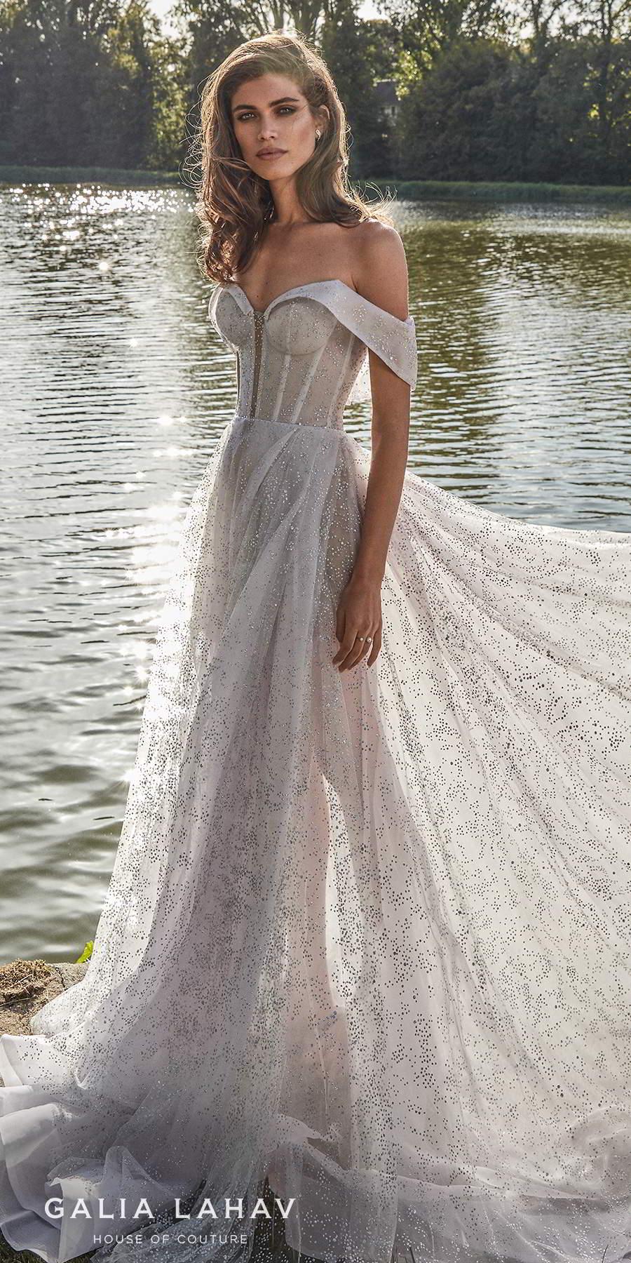 galia lahav fall 2020 bridal off the shoulder sweetheart neckline full embellishment bustier glamorous elegant a  line wedding dress mid back chapel train (aretha) lv
