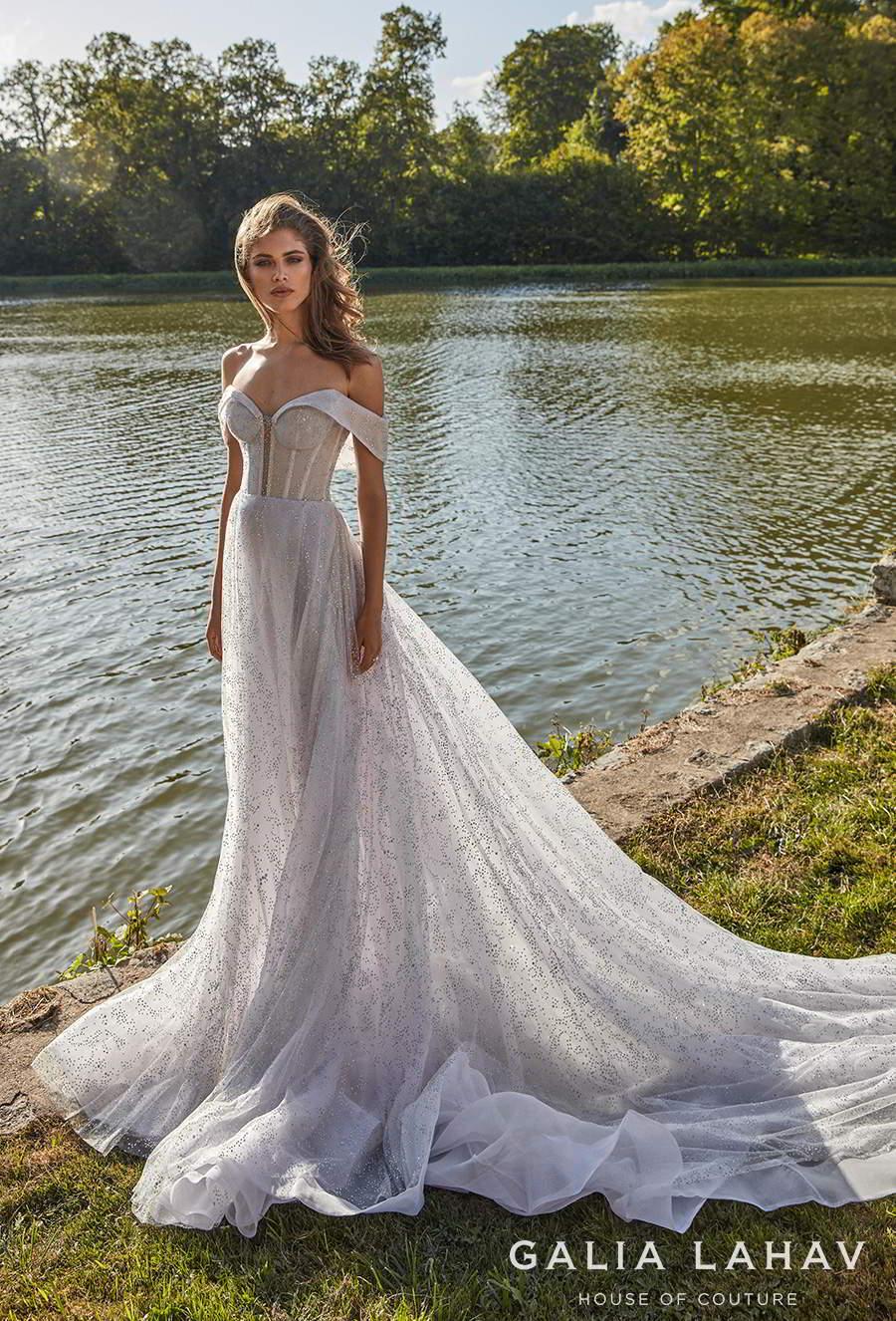 galia lahav fall 2020 bridal off the shoulder sweetheart neckline full embellishment bustier glamorous elegant a  line wedding dress mid back chapel train (aretha) mv