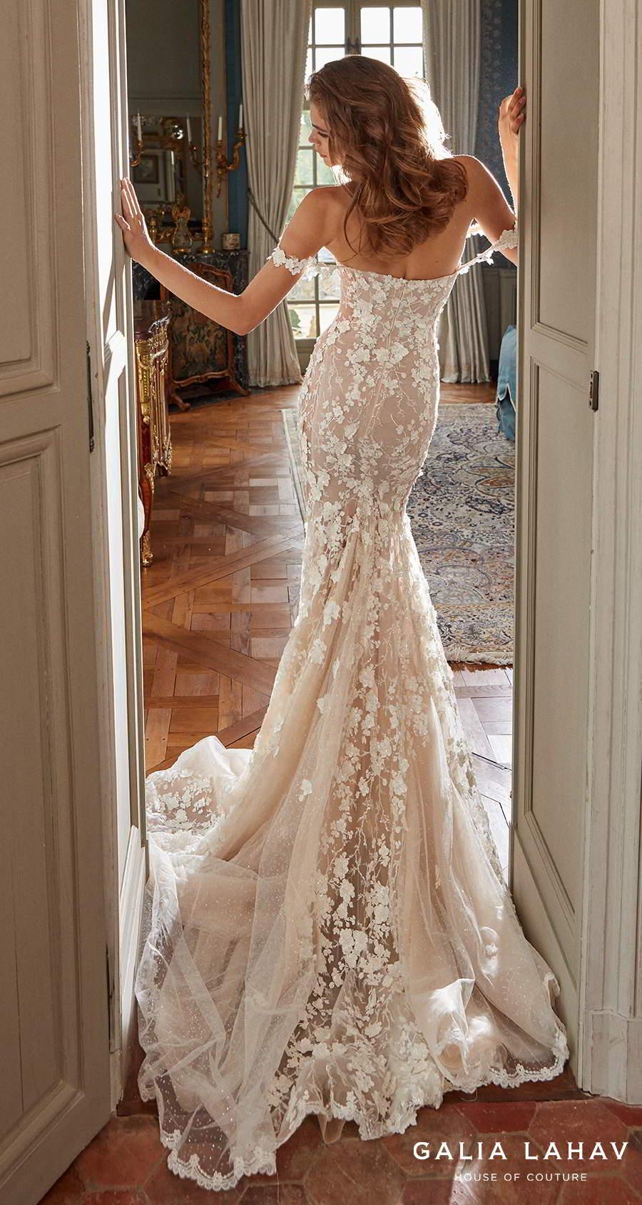 galia lahav fall 2020 bridal off the shoulder sweetheart neckline full embellishment romantic fit and flare sheath wedding dress mid back chapel train (maya) bv