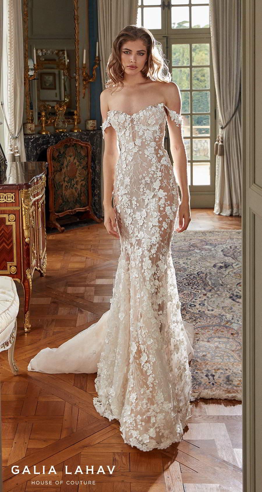 galia lahav fall 2020 bridal off the shoulder sweetheart neckline full embellishment romantic fit and flare sheath wedding dress mid back chapel train (maya) mv