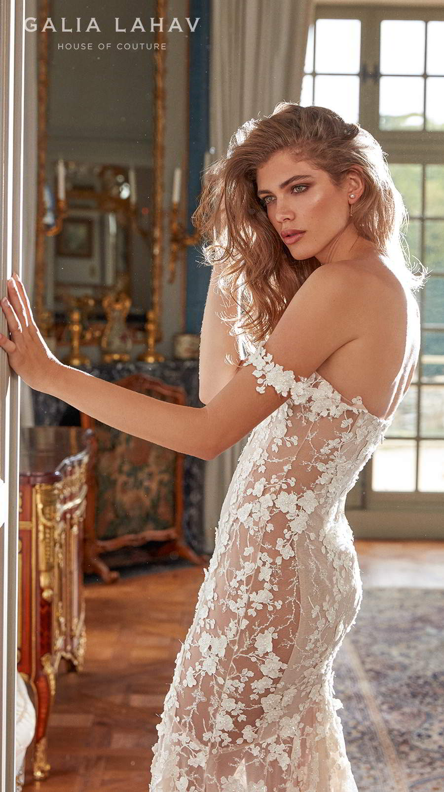 galia lahav fall 2020 bridal off the shoulder sweetheart neckline full embellishment romantic fit and flare sheath wedding dress mid back chapel train (maya) sdv