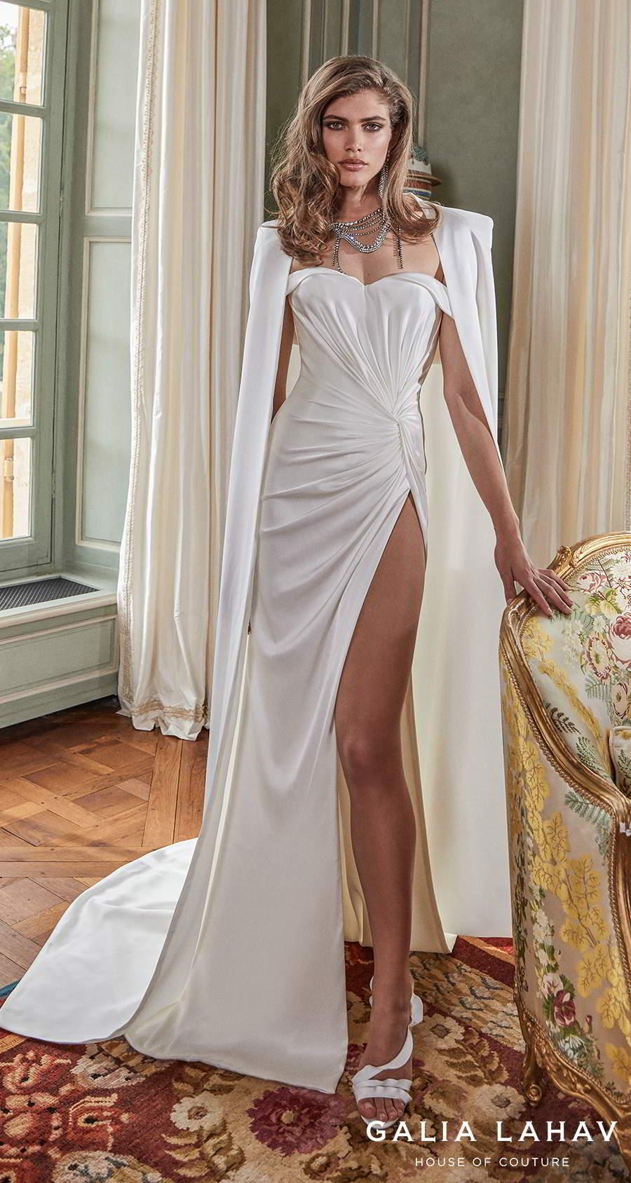 galia lahav fall 2020 bridal off the shoulder sweetheart neckline simple minimalist slit skirt elegant sheath wedding dress with cape mid back short train (anna) mv